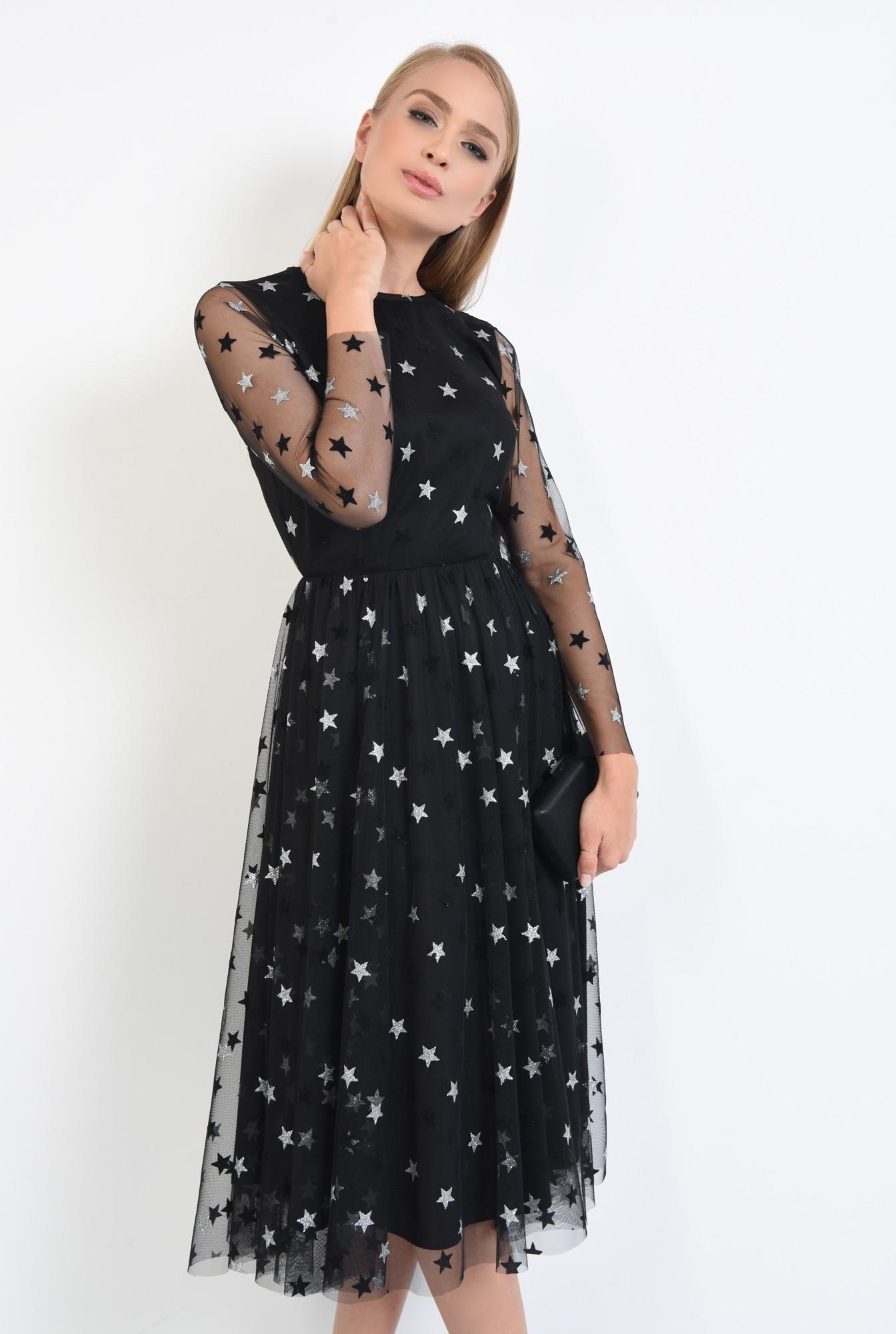 2 - 360 - rochie neagra, croi evazat, cusatura in talie, maneci lungi