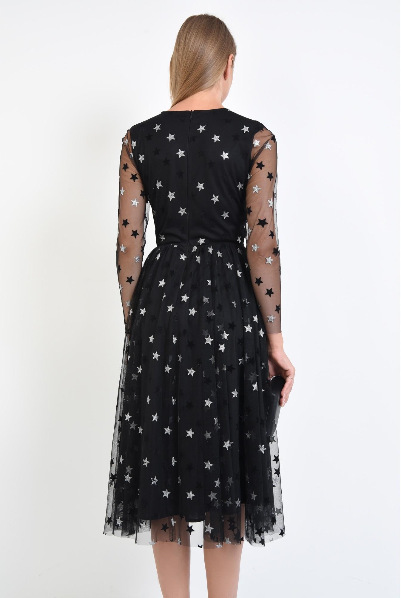 1 - 360 - rochie neagra, croi evazat, cusatura in talie, maneci lungi