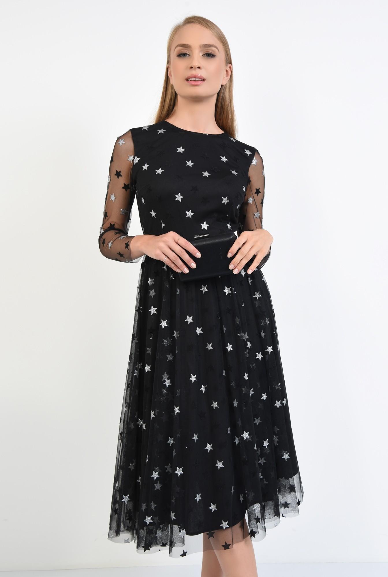 0 - 360 - rochie neagra, croi evazat, cusatura in talie, maneci lungi