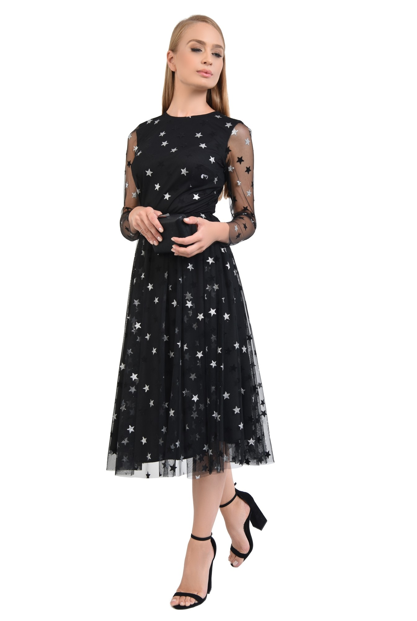 3 - 360 - rochie neagra, croi evazat, cusatura in talie, maneci lungi