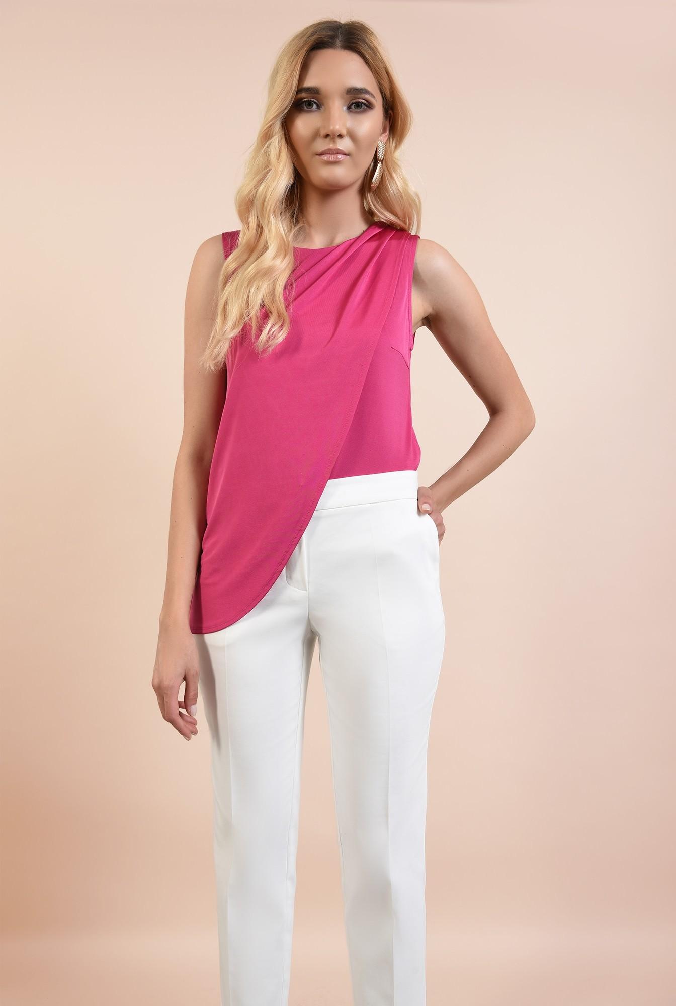 0 - pantaloni dama, pantaloni online, albi, conici, talie cu betelie