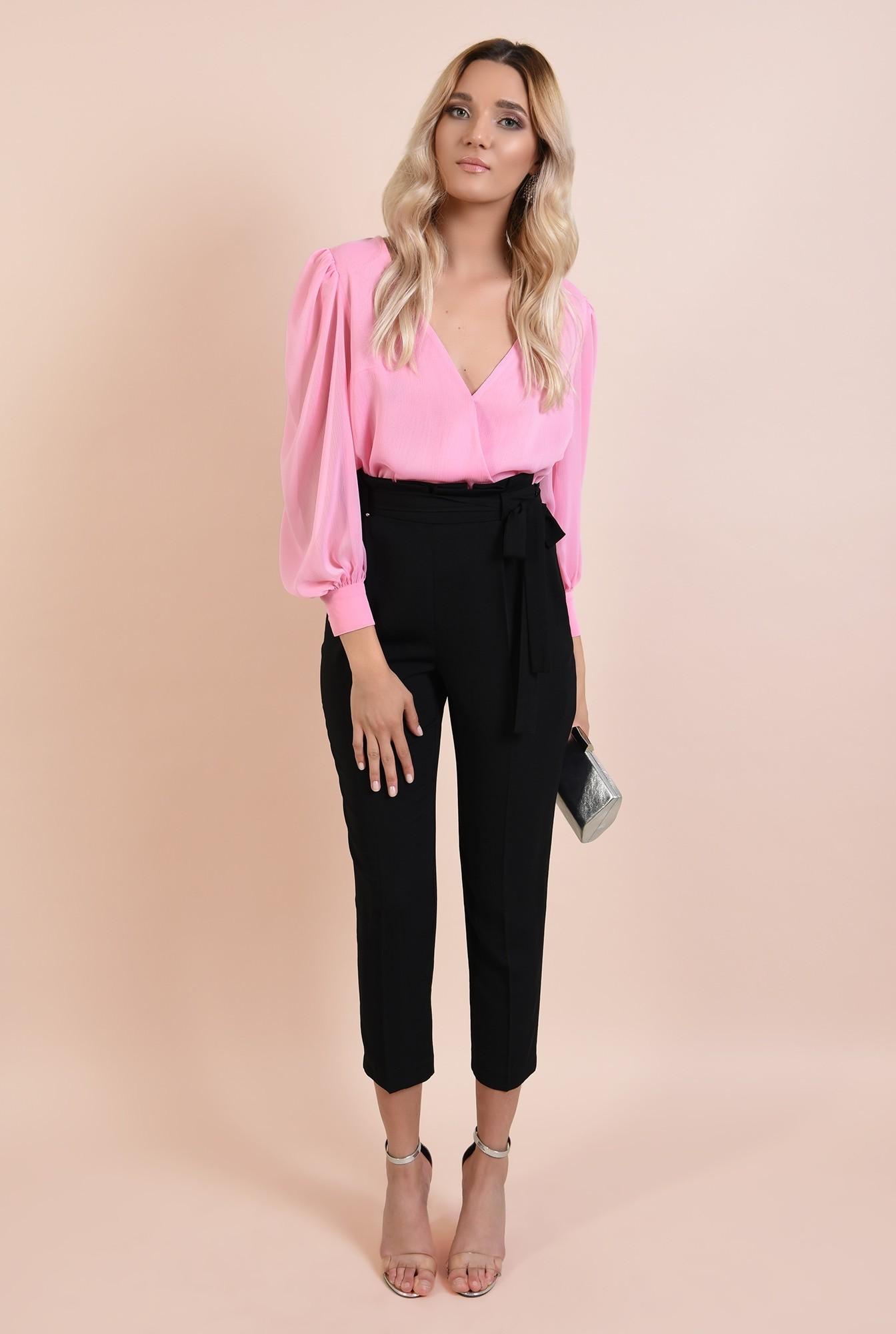 3 - 360 - pantaloni eleganti, negri, tigareta, cu cordon, funda la talie