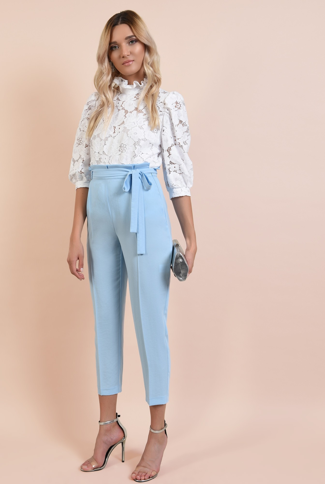 0 - pantaloni eleganti, bleu, lungi, cu cordon, betelie plisata, Poema