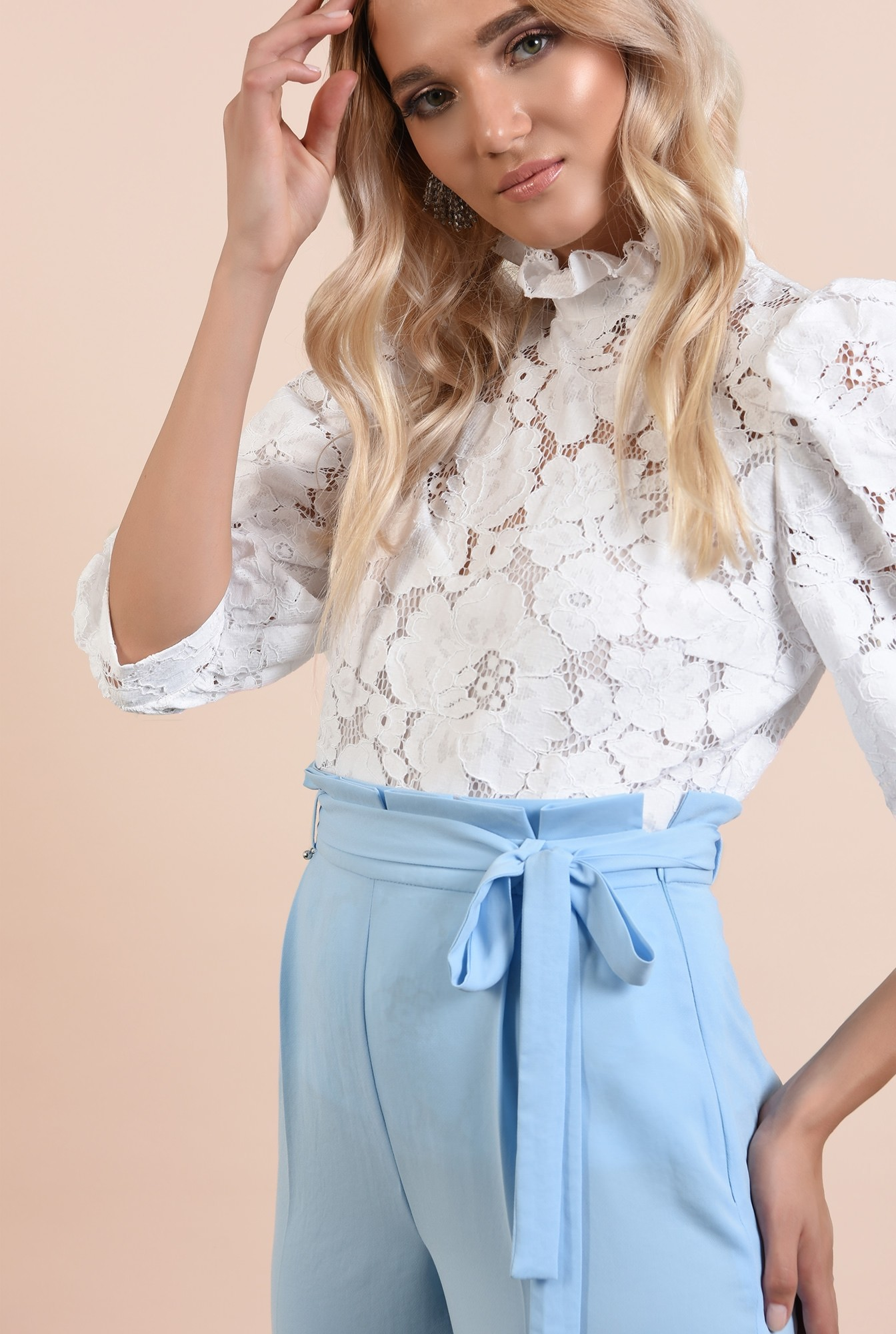 2 - pantaloni eleganti, bleu, lungi, cu cordon, betelie plisata, Poema
