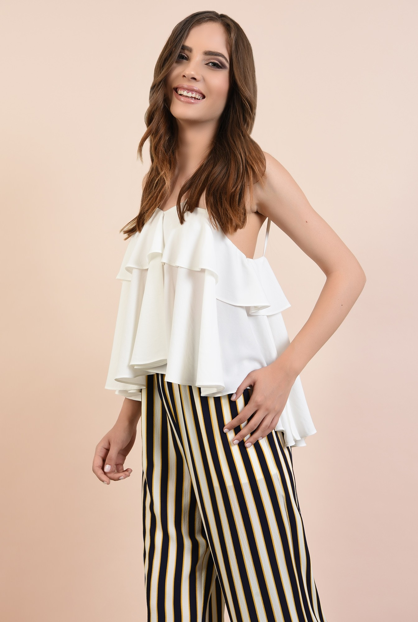 2 - 360 - pantaloni de zi, croi larg, dungi multicolore, betelie elastica