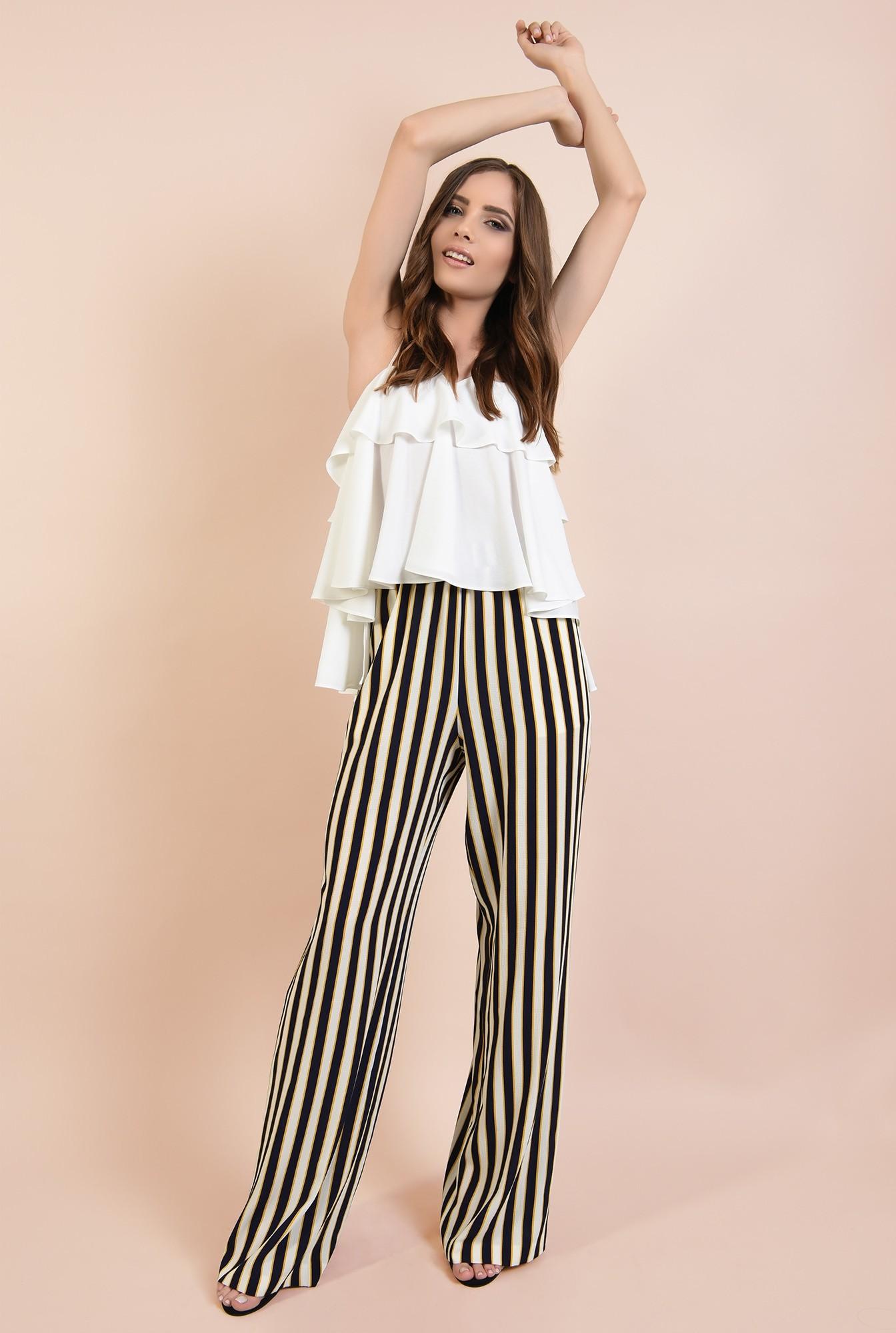 0 - 360 - pantaloni de zi, croi larg, dungi multicolore, betelie elastica