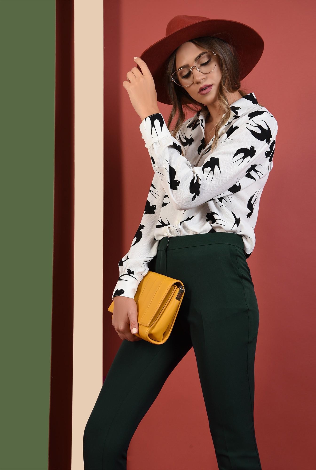 2 - pantaloni de birou, Poema, verzi, talie inalta, cu buzunare