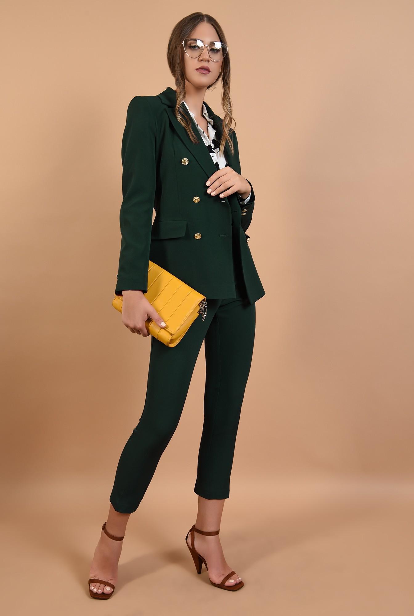 3 - pantaloni de birou, Poema, verzi, talie inalta, cu buzunare