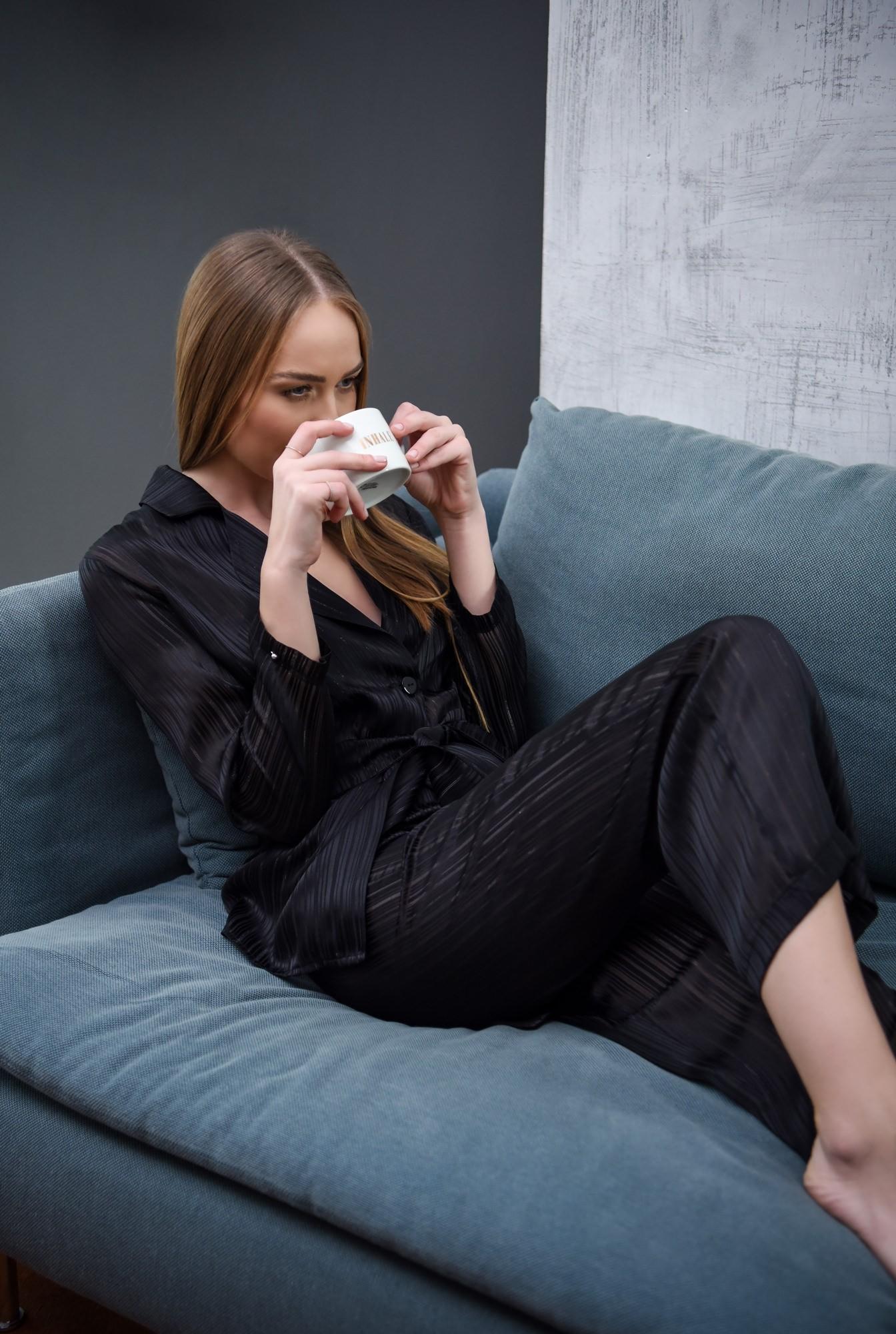 0 - 360 - pijama neagra, cu pantaloni lungi