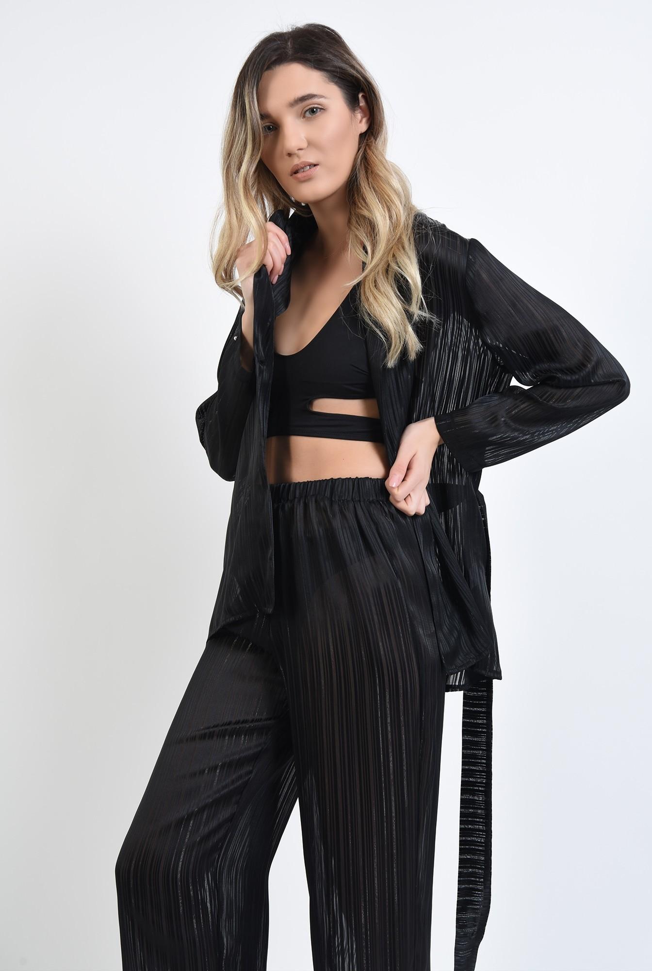 3 - 360 - pijama neagra, cu pantaloni lungi
