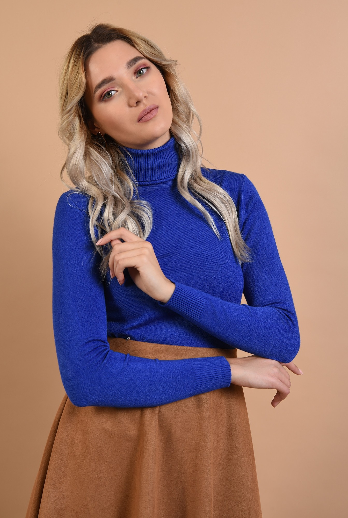 2 - maleta albastra, casual, tricotata, Poema
