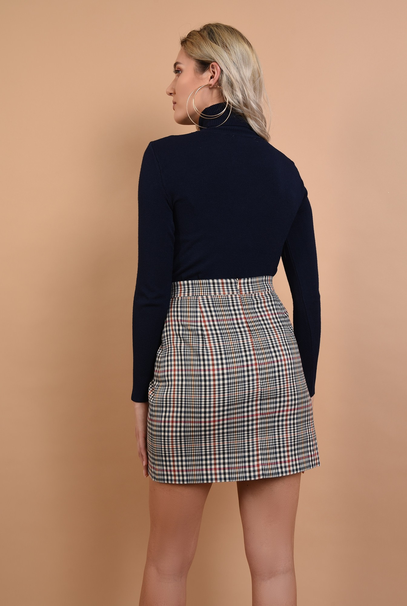 1 - pulover bleumarin, maneci mulate, guler inalt, tricot, Poema