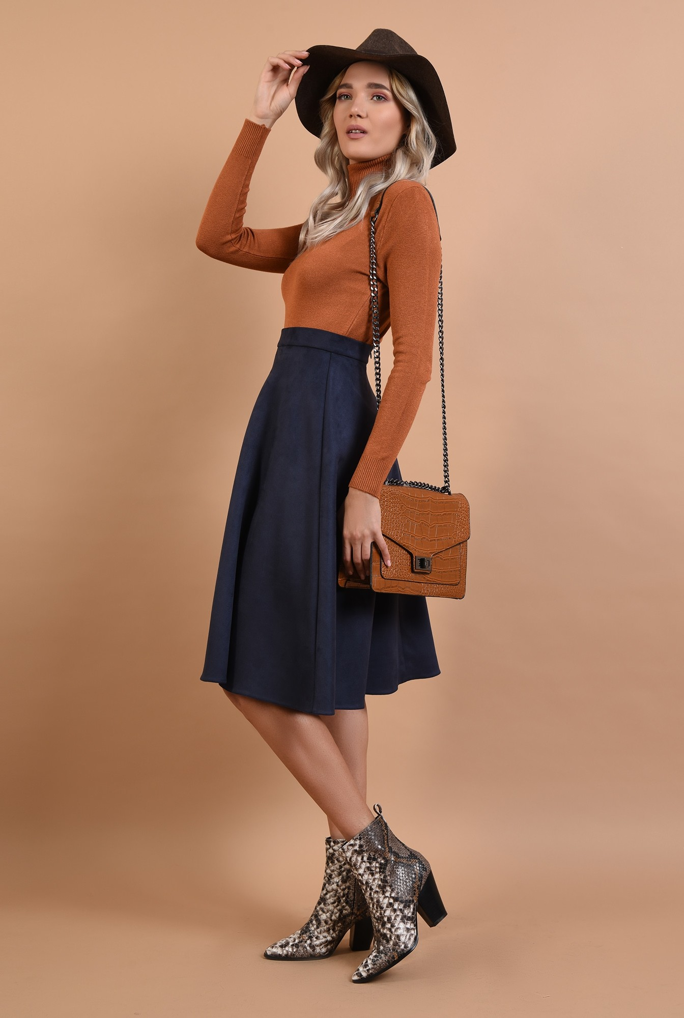 3 - maleta maro, stretch, Poema, bronz, camel, guler inalt