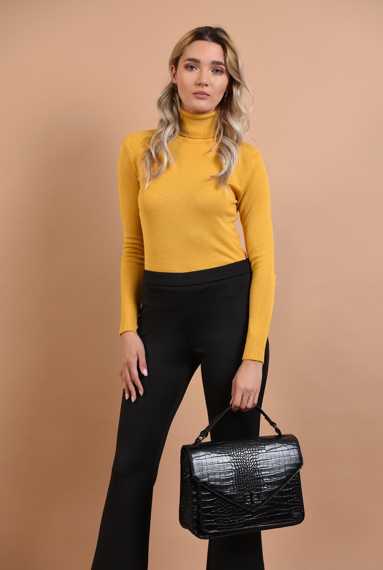 0 - pulover mustar, casual, galben, Poema, maleta cu guler reiat