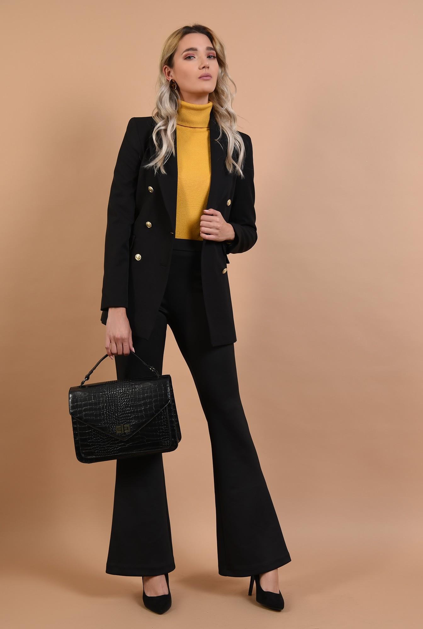 3 - pulover mustar, casual, galben, Poema, maleta cu guler reiat