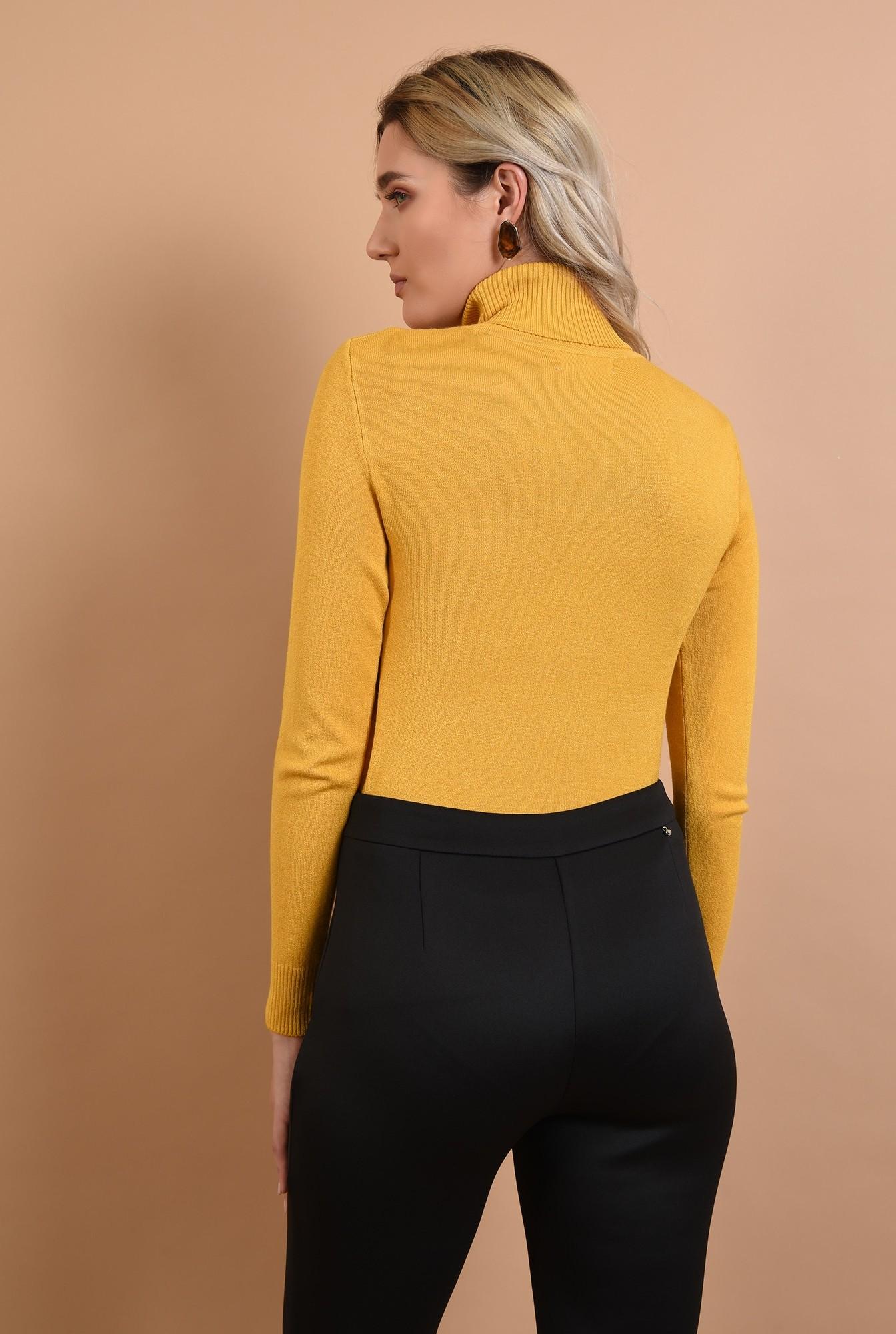 1 - pulover mustar, casual, galben, Poema, maleta cu guler reiat