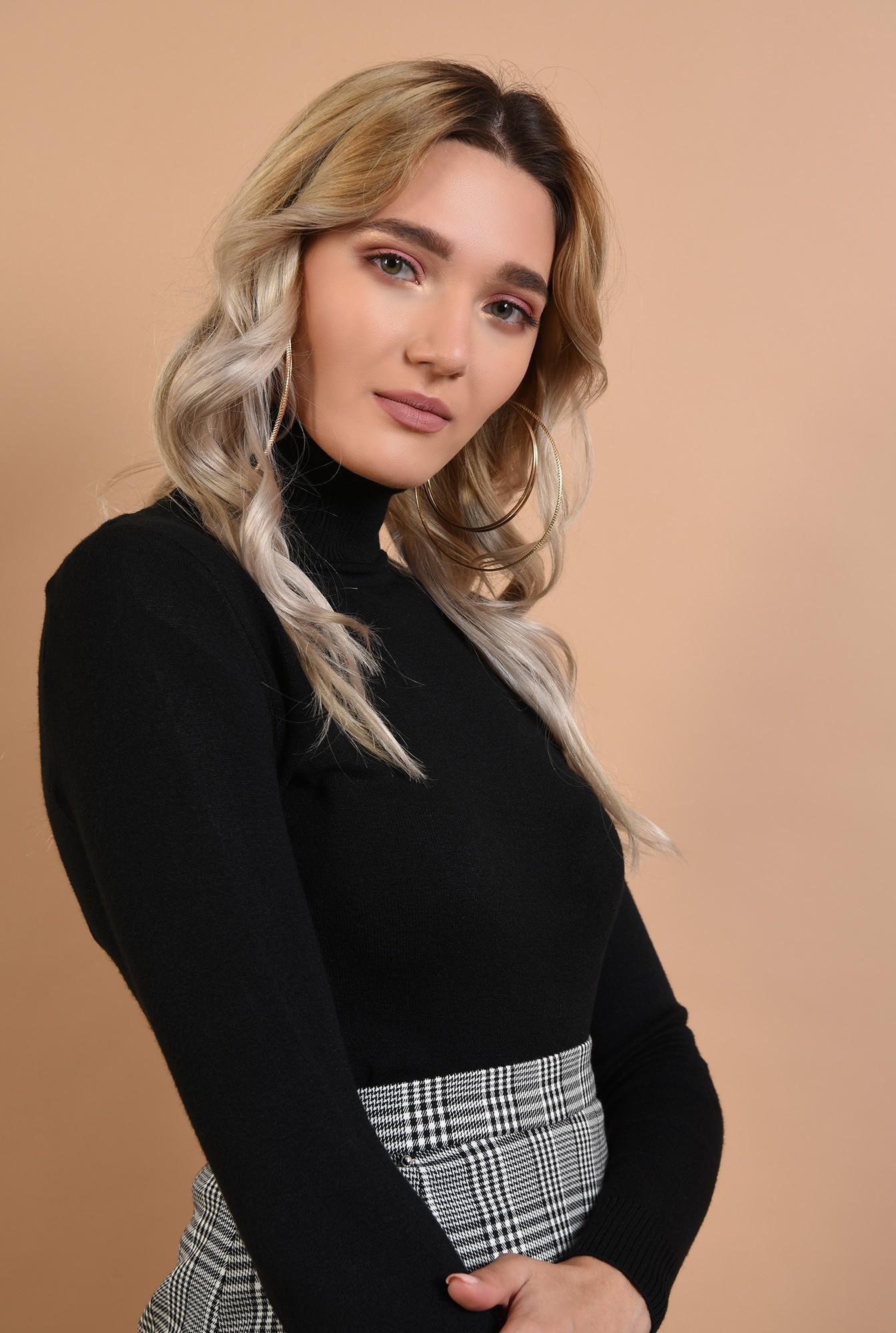 2 - pulover mulat, negru, Poema, maleta tricotata, maneci lungi