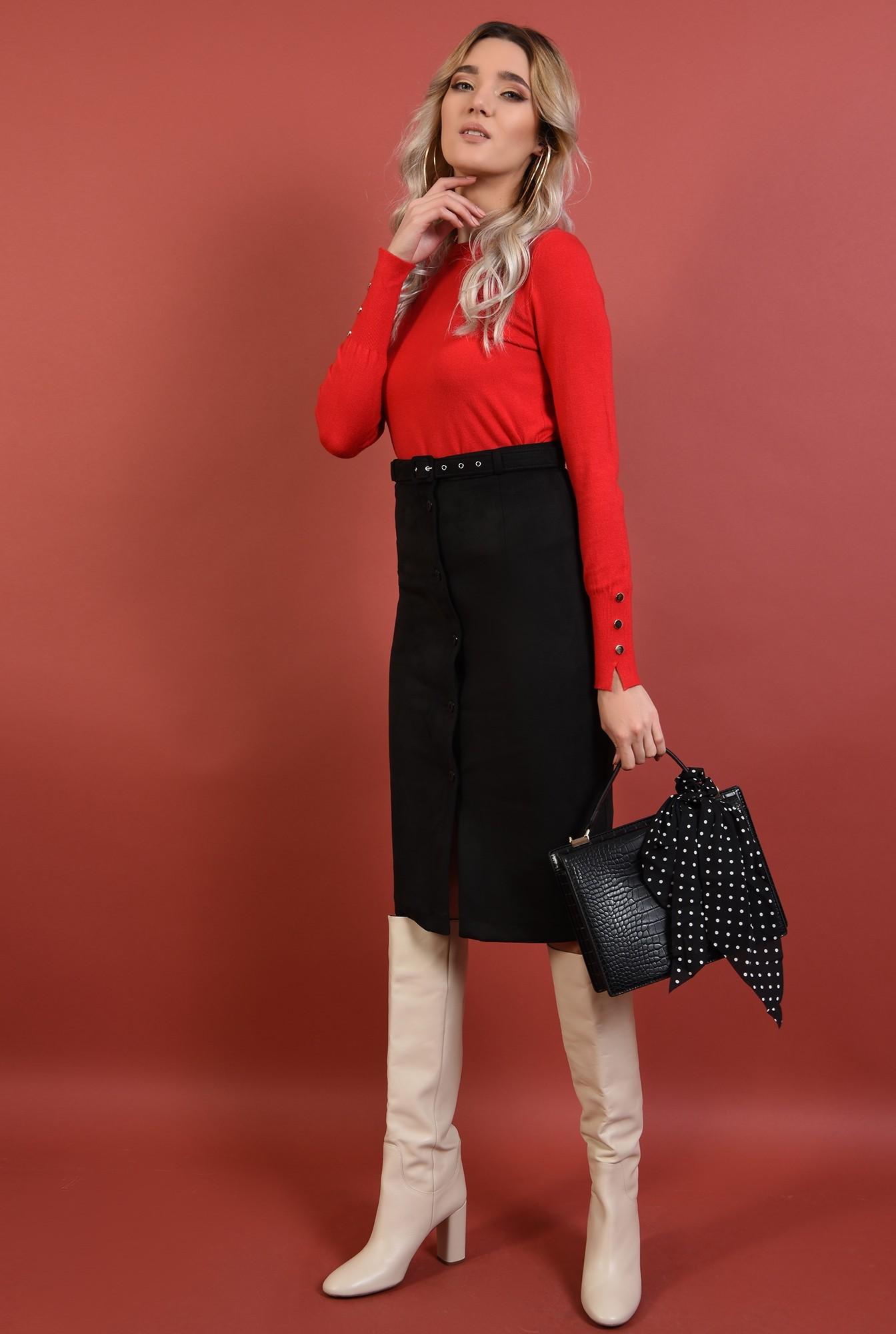 3 - pulover rosu, cu nasturi la mansete,margini reiate, rosu, Poema