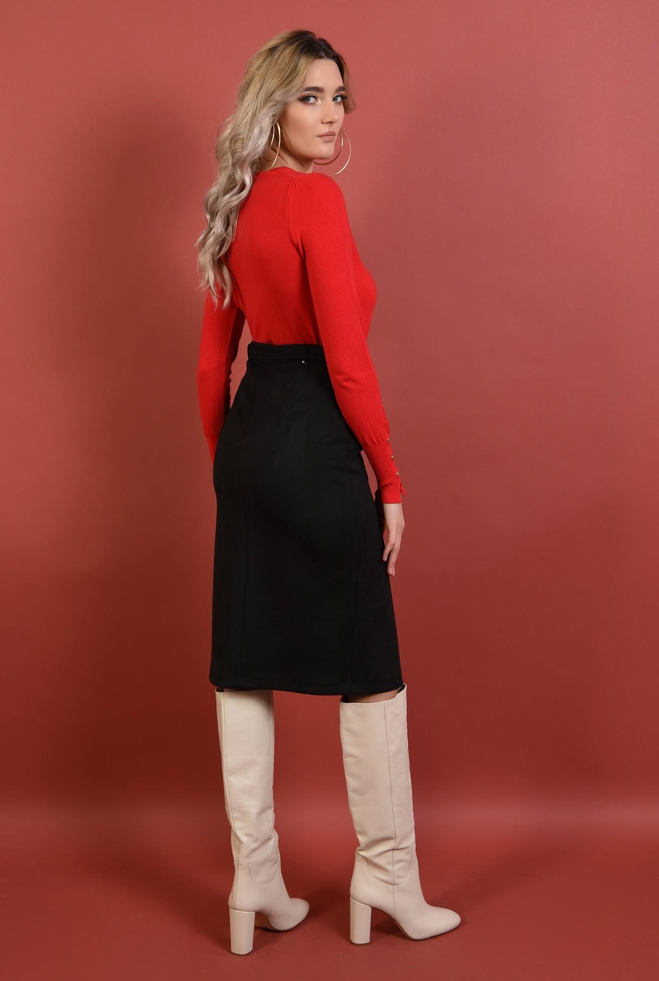 1 - pulover rosu, cu nasturi la mansete,margini reiate, rosu, Poema