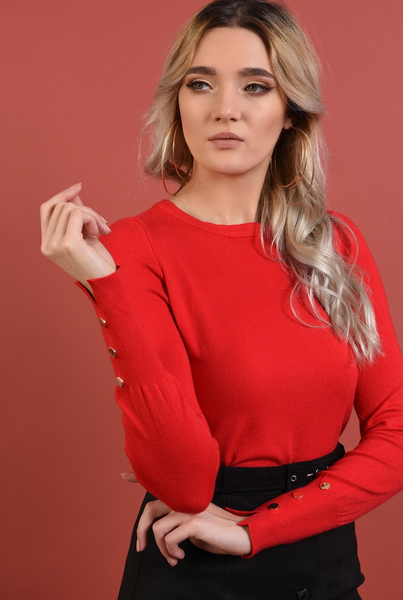 2 - pulover rosu, cu nasturi la mansete,margini reiate, rosu, Poema