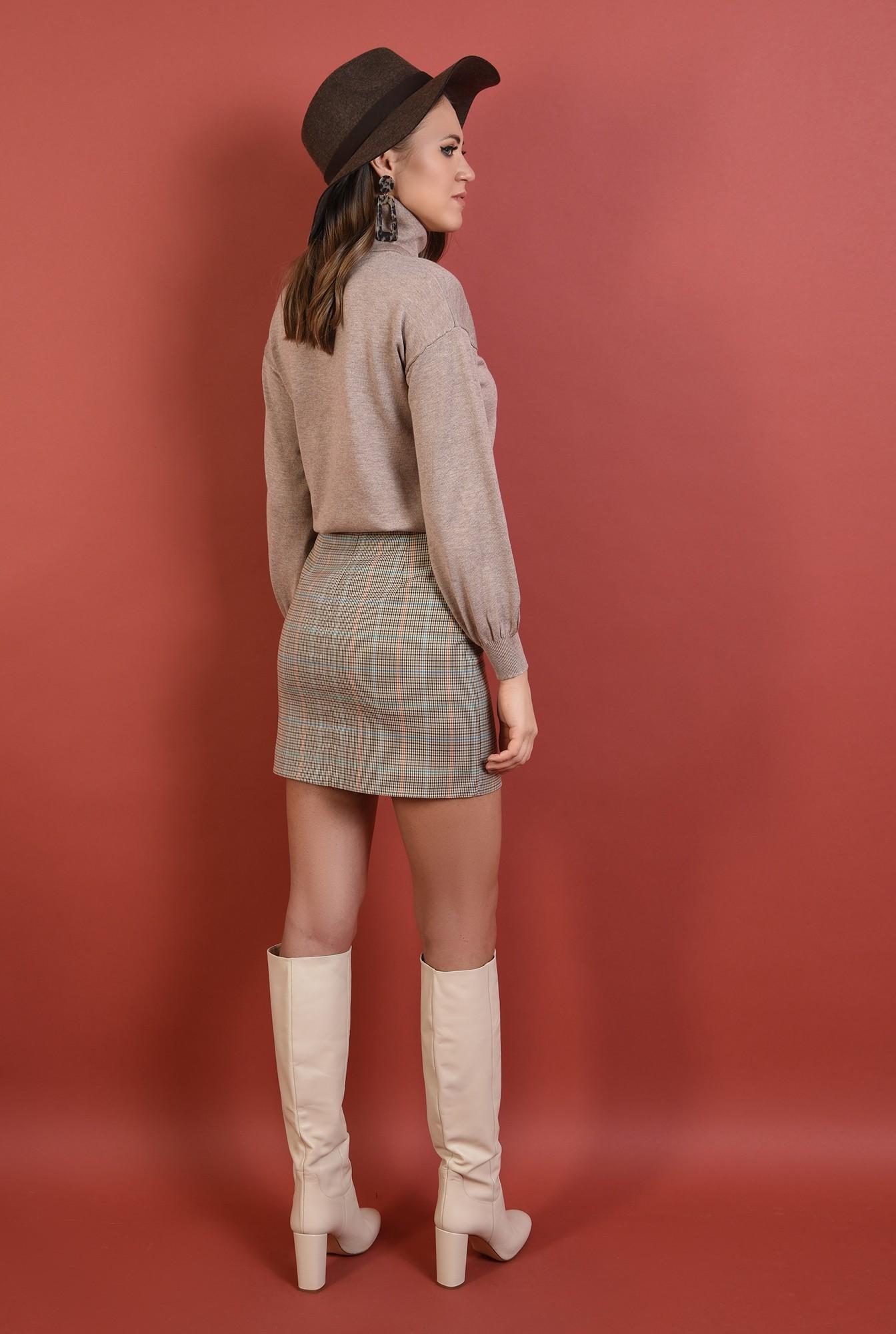 1 - pulover Poema, guler rulat, croi drept lejer, tricot, maneci bufante