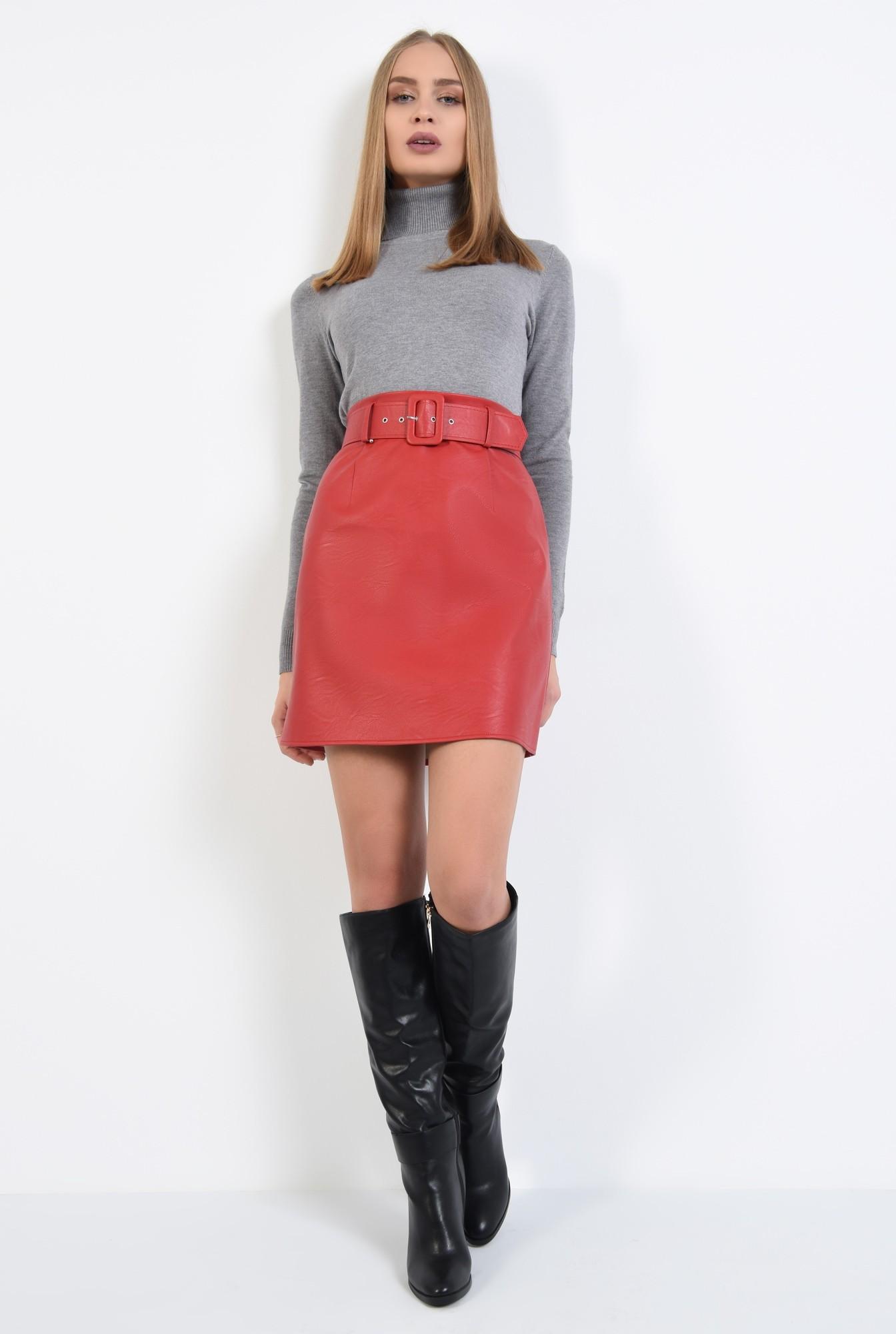 2 - pulover tip maleta, gri, borduri reiate, guler inalt, bluza tricotata