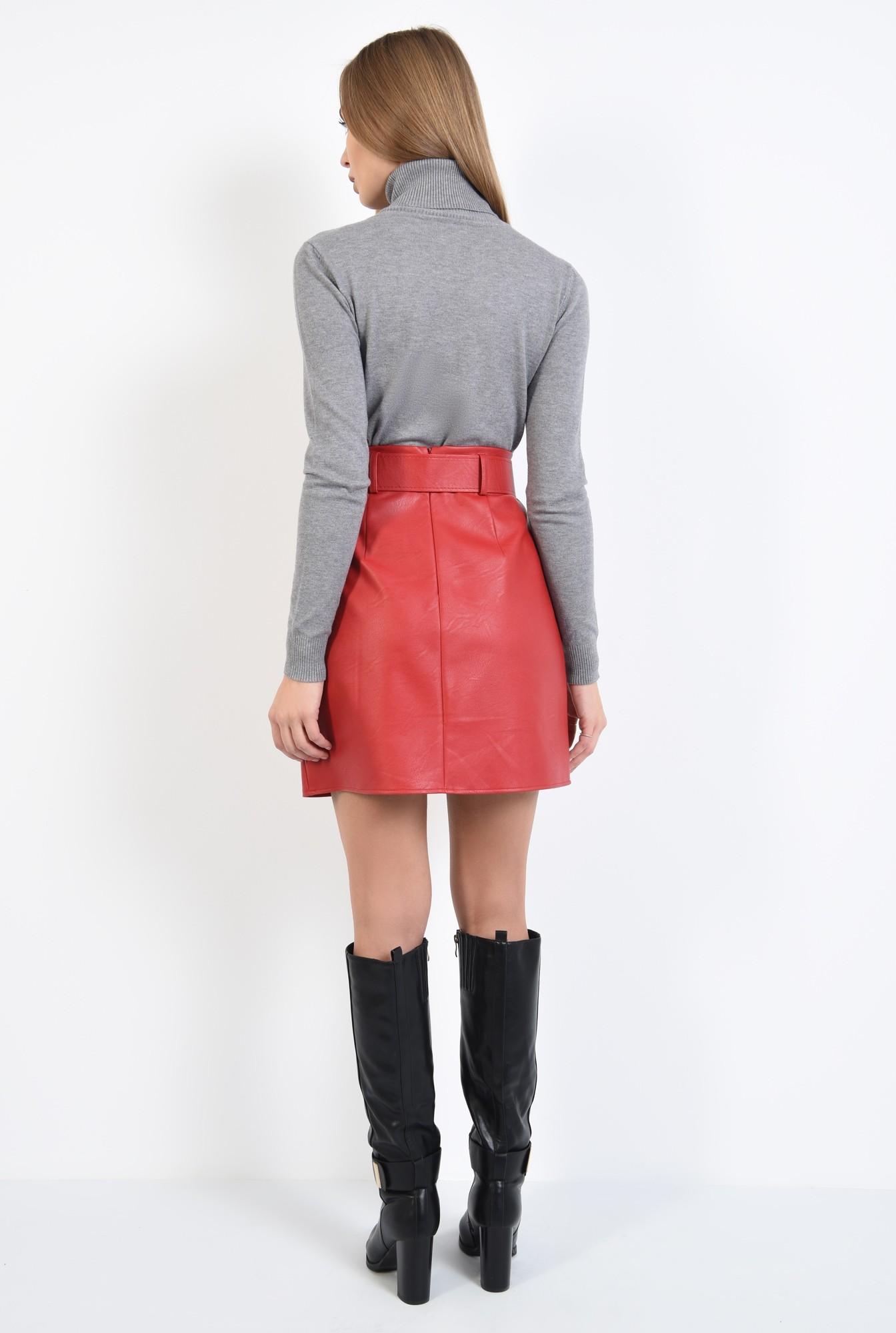 1 - pulover tip maleta, gri, borduri reiate, guler inalt, bluza tricotata
