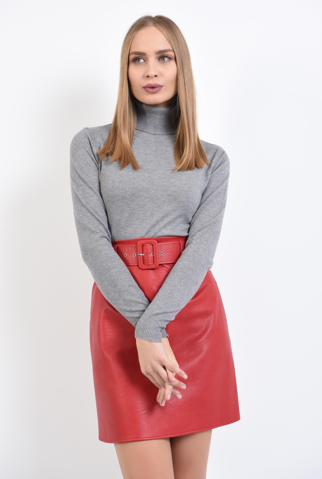 0 - pulover tip maleta, gri, borduri reiate, guler inalt, bluza tricotata