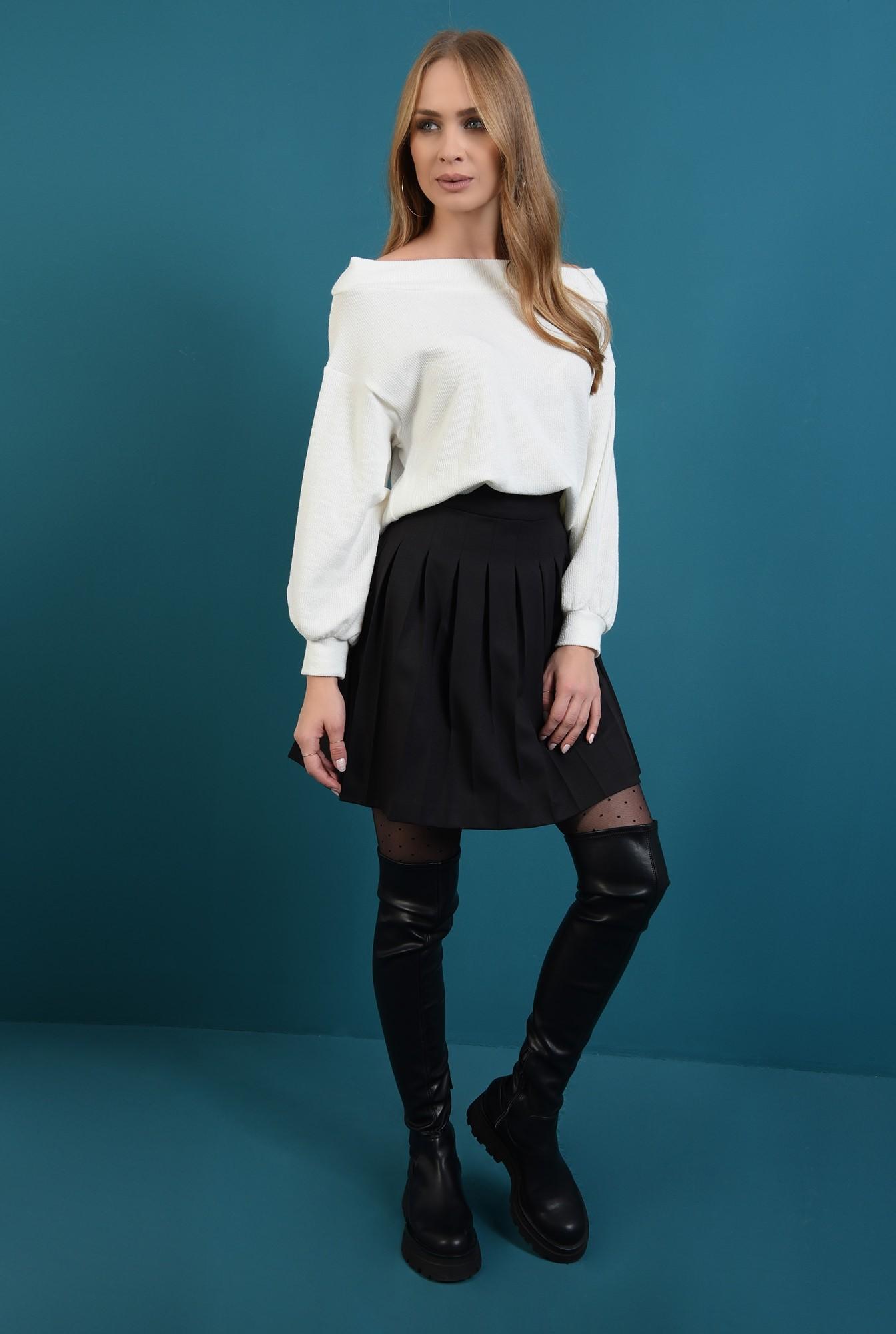 0 - pulover tricotat, alb, cu maneca bufanta