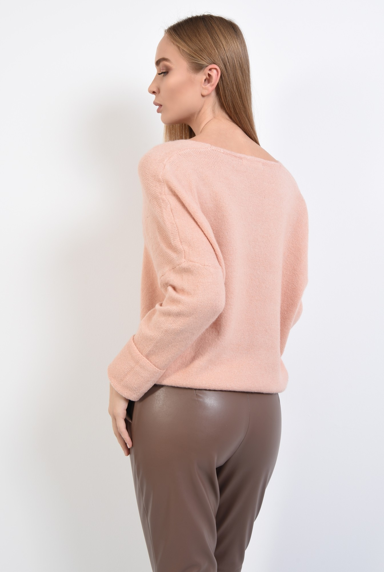 1 - 360 - pulover dama, online, tricotaje, roz, bordura reiata