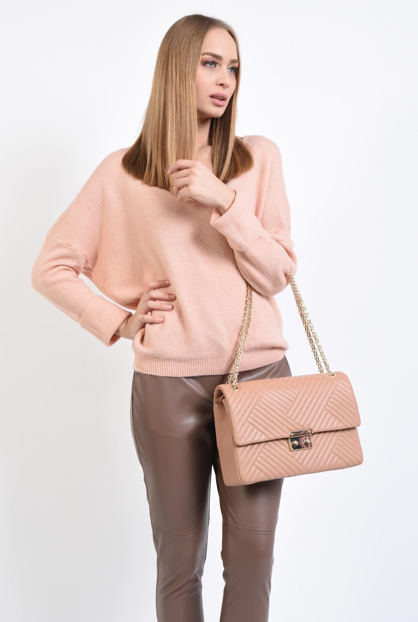 0 - 360 - pulover dama, online, tricotaje, roz, bordura reiata