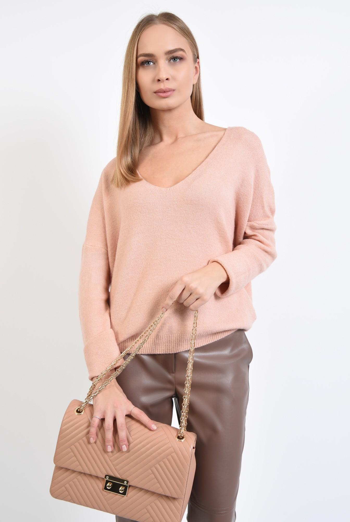 2 - 360 - pulover dama, online, tricotaje, roz, bordura reiata