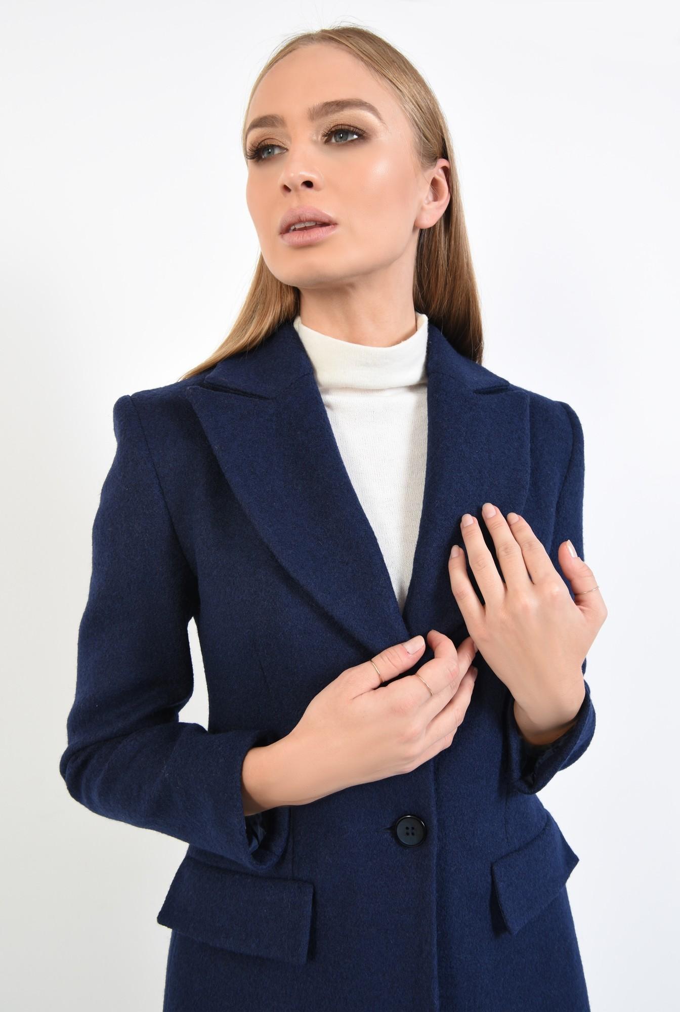 2 - 360 - paltoane online, bleumarin, croi lung, inchidere cu butoniera