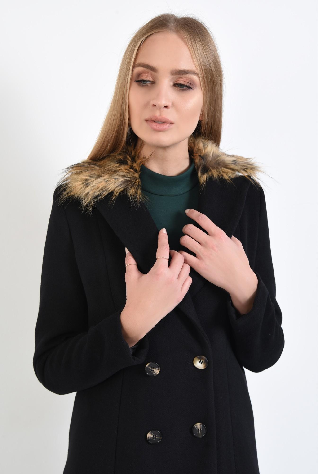 2 - 360 - palton negru, croi drept, nasturi, guler detasabil