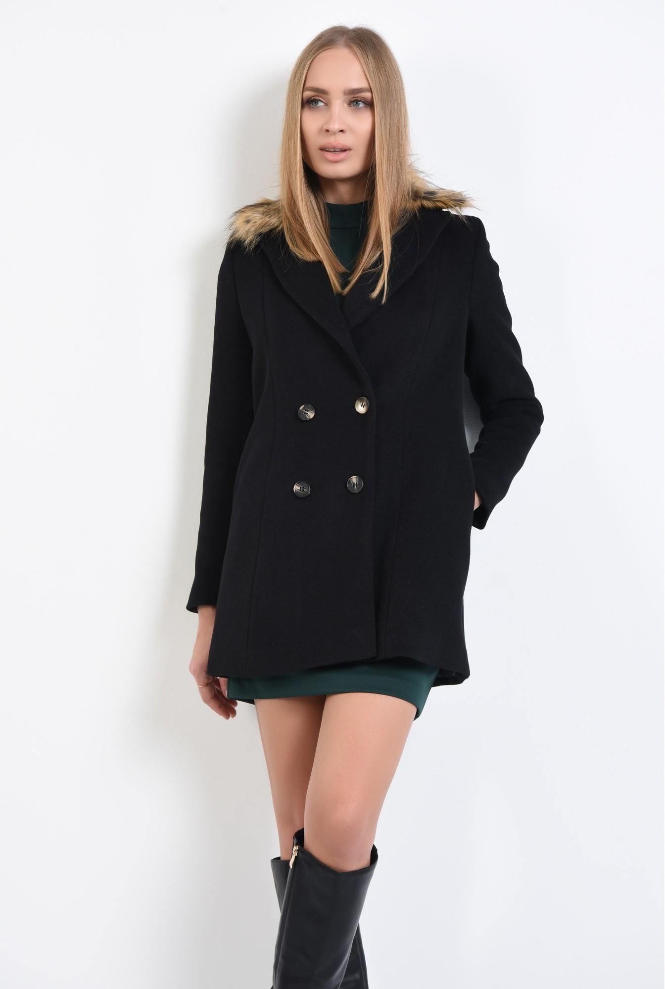 0 - 360 - palton negru, croi drept, nasturi, guler detasabil