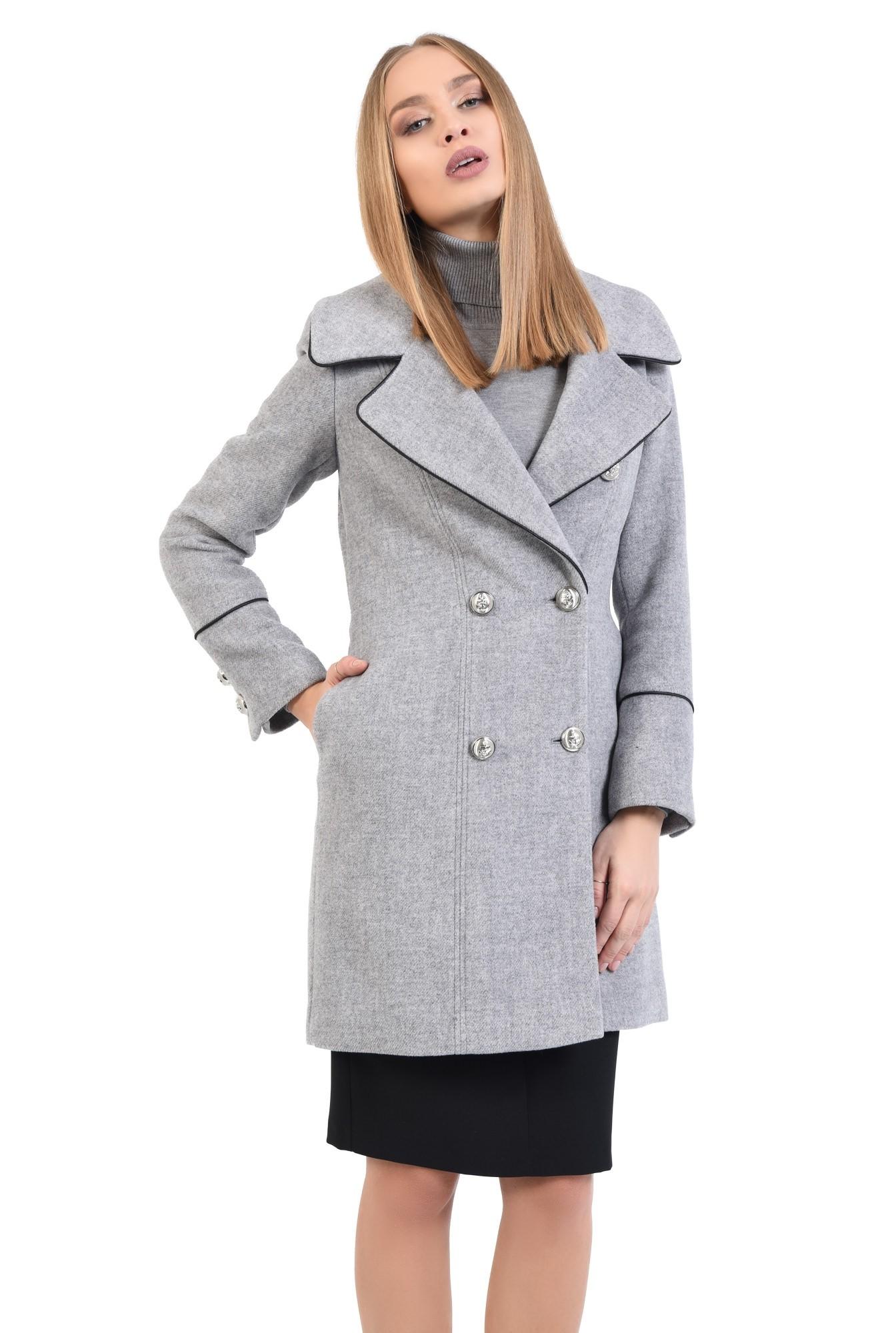 0 - palton casual, cambrat, buzunare in cusatura, revere late crestate