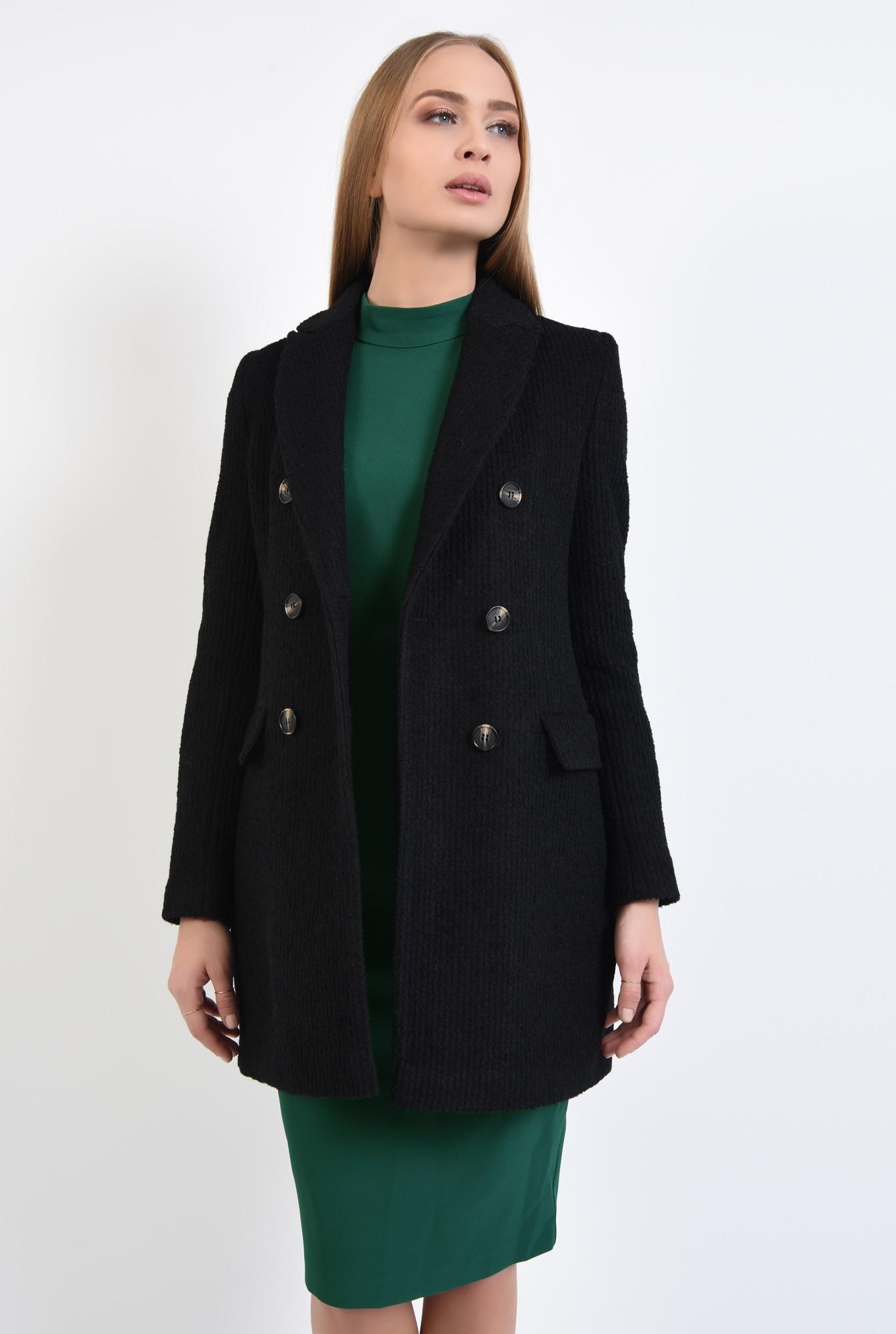 2 - palton dama, online, negru, drept, doua randuri de nasturi