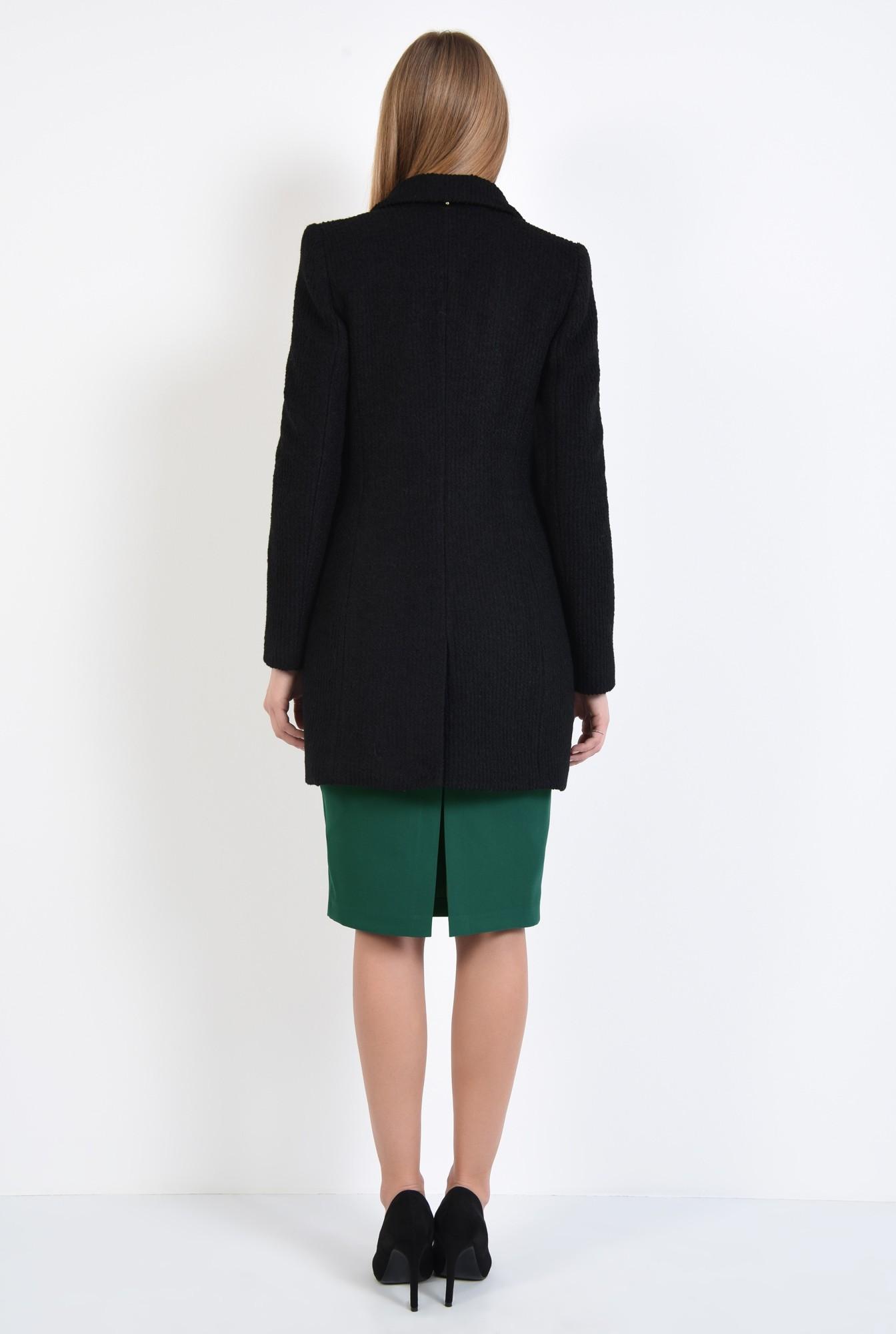 1 - palton dama, online, negru, drept, doua randuri de nasturi