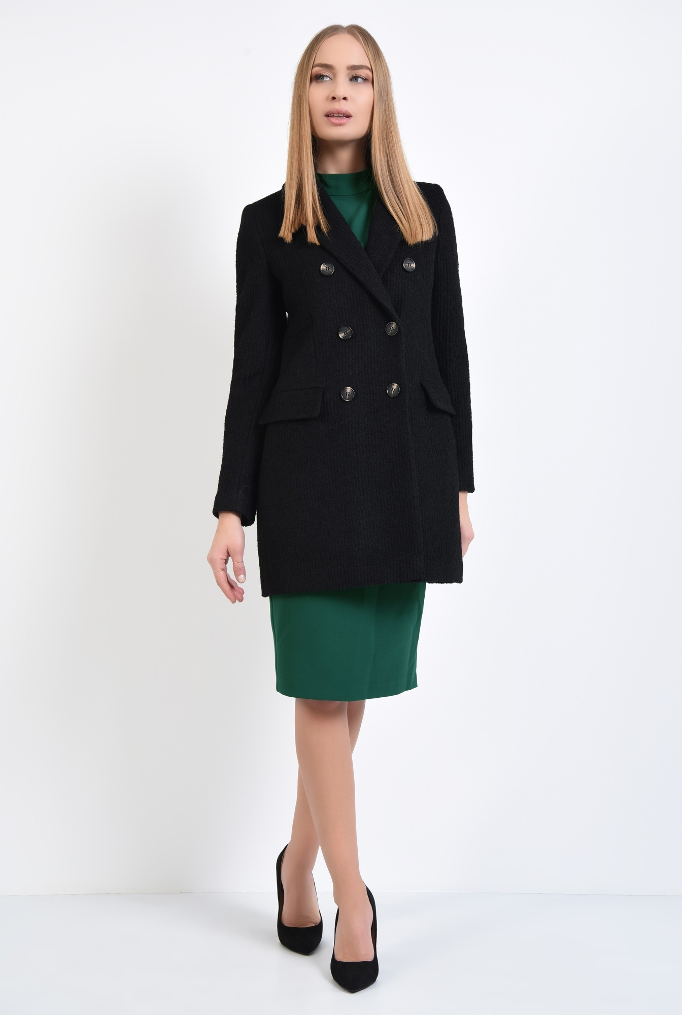 3 - palton dama, online, negru, drept, doua randuri de nasturi
