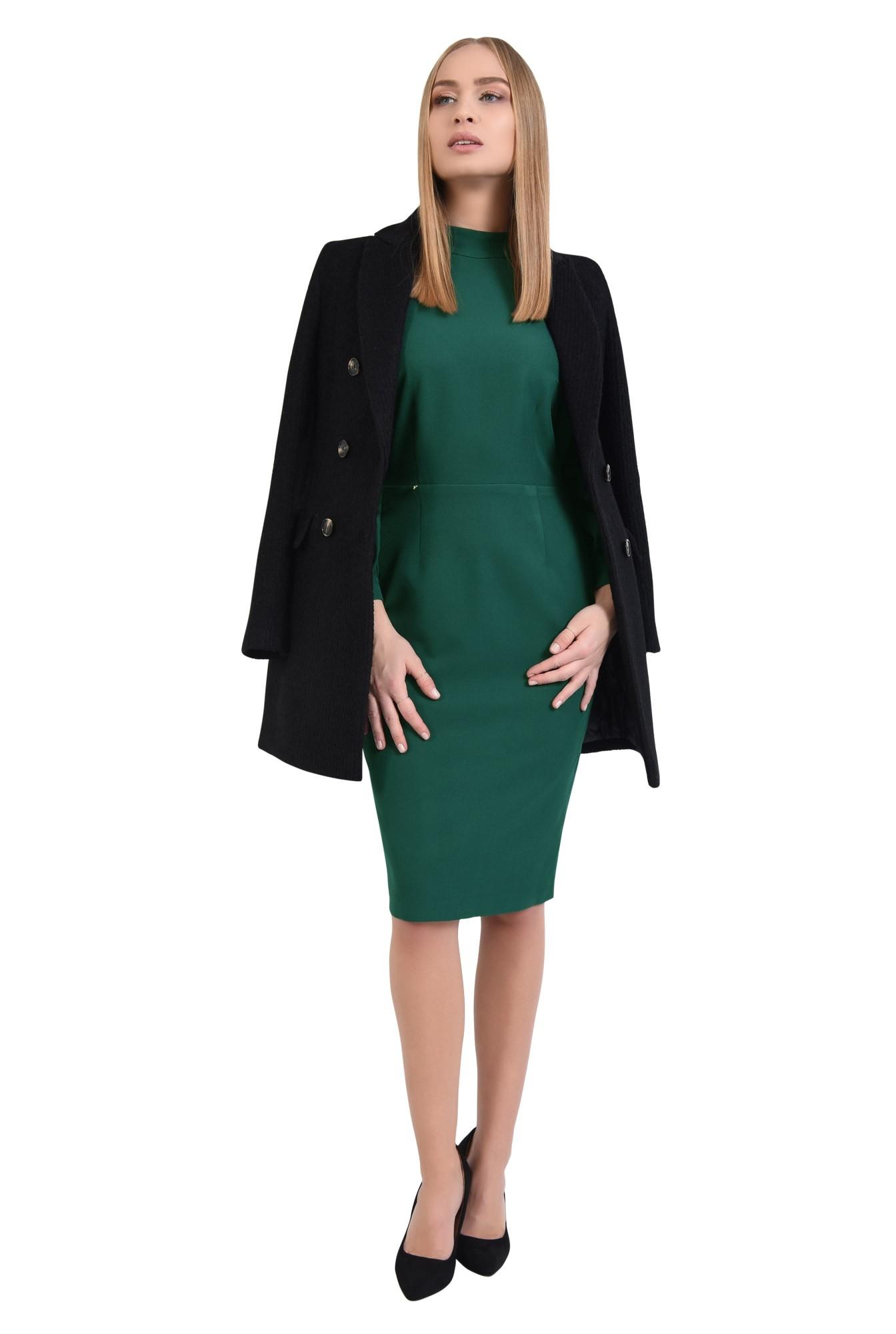 0 - palton dama, online, negru, drept, doua randuri de nasturi