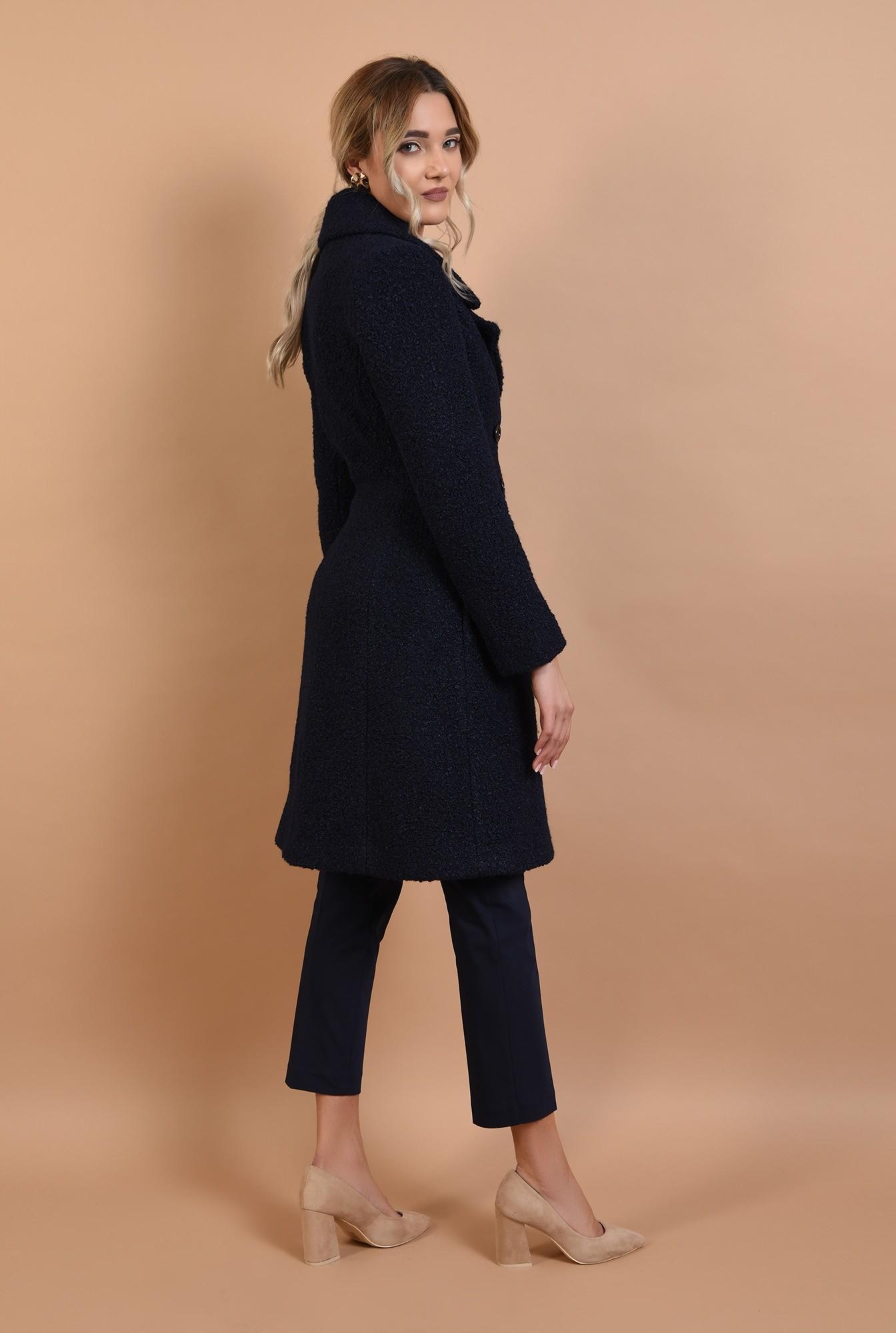 1 - palton bleumarin, cu nasturi, revere crestate, anchior petrecut