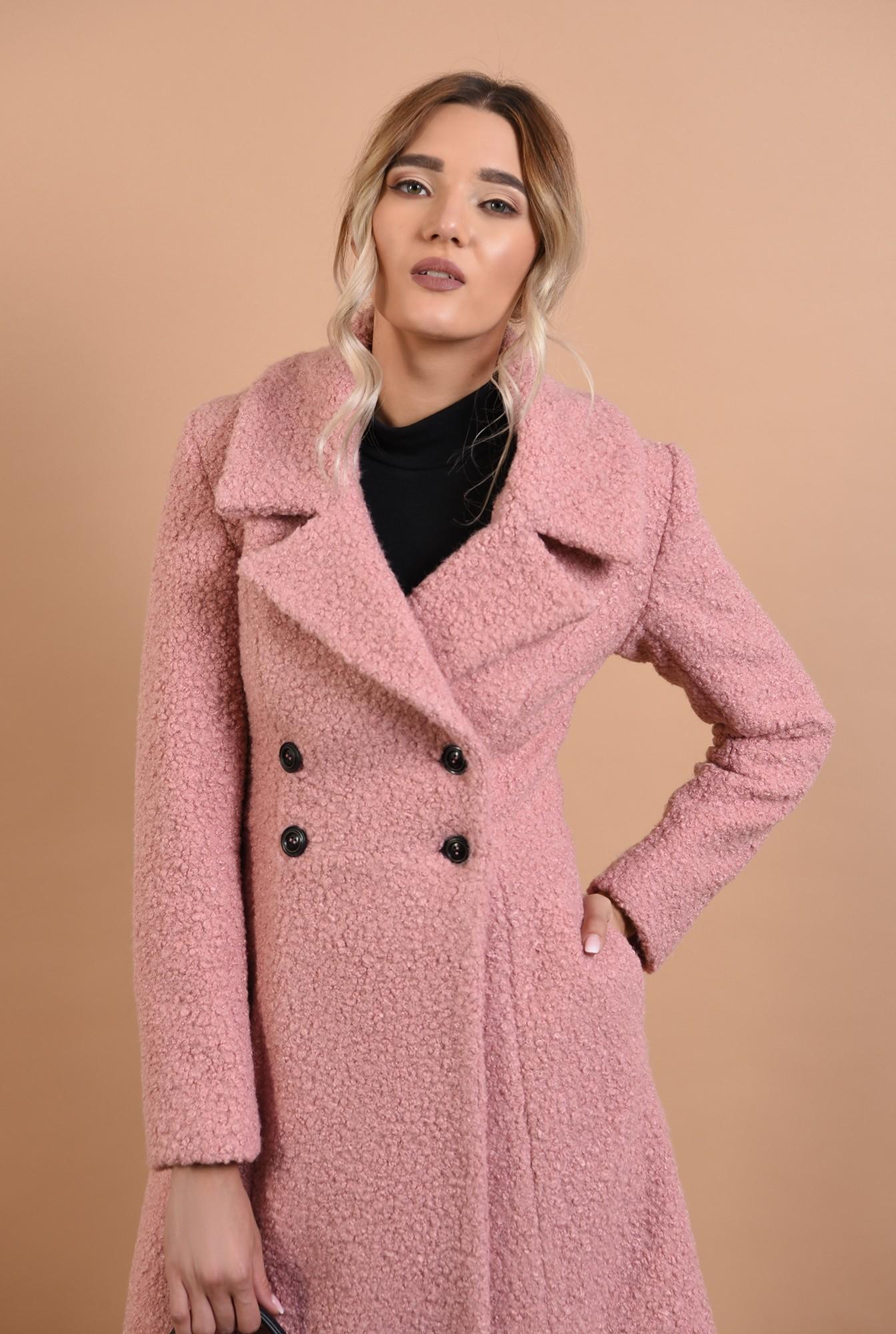 1 - palton roz, midi, cambrat, doua randuri de nasturi, Poema