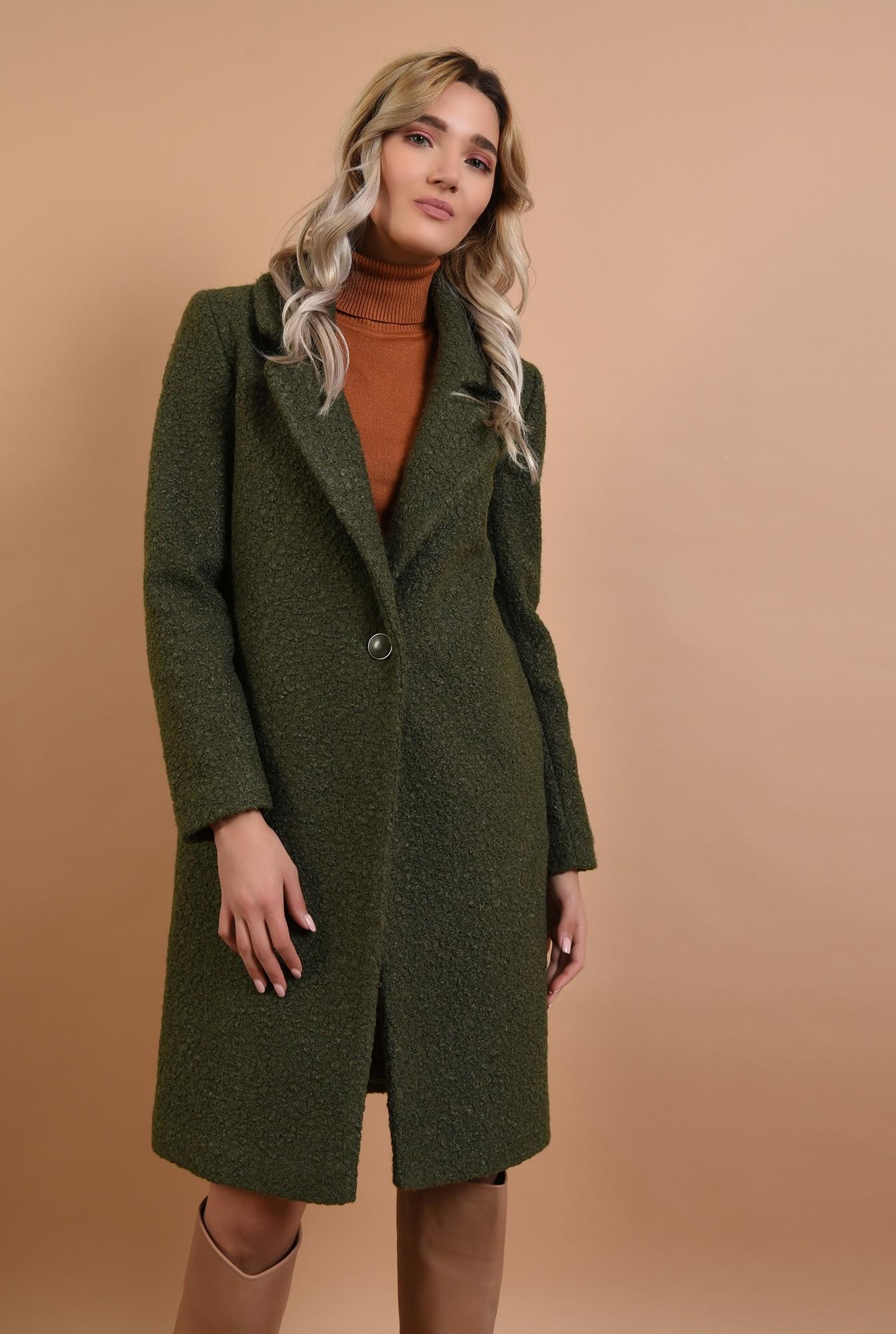 0 - palton kaki, cu nasture, cu revere, lana buclata