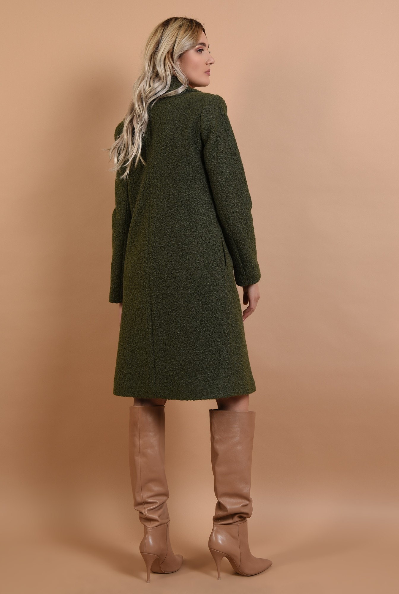1 - palton kaki, cu nasture, cu revere, lana buclata