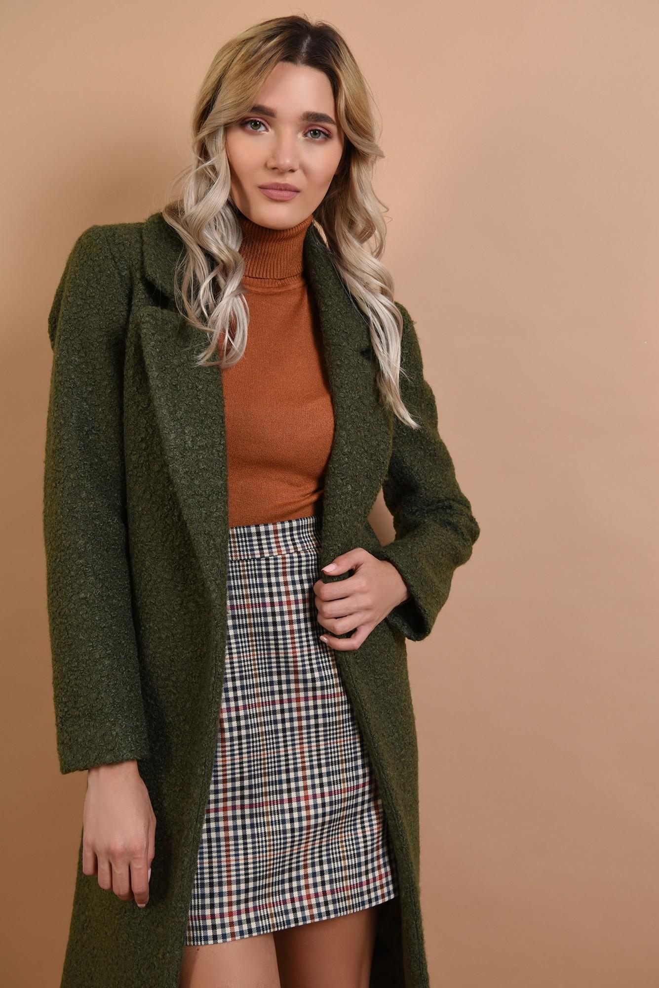 2 - palton kaki, cu nasture, cu revere, lana buclata
