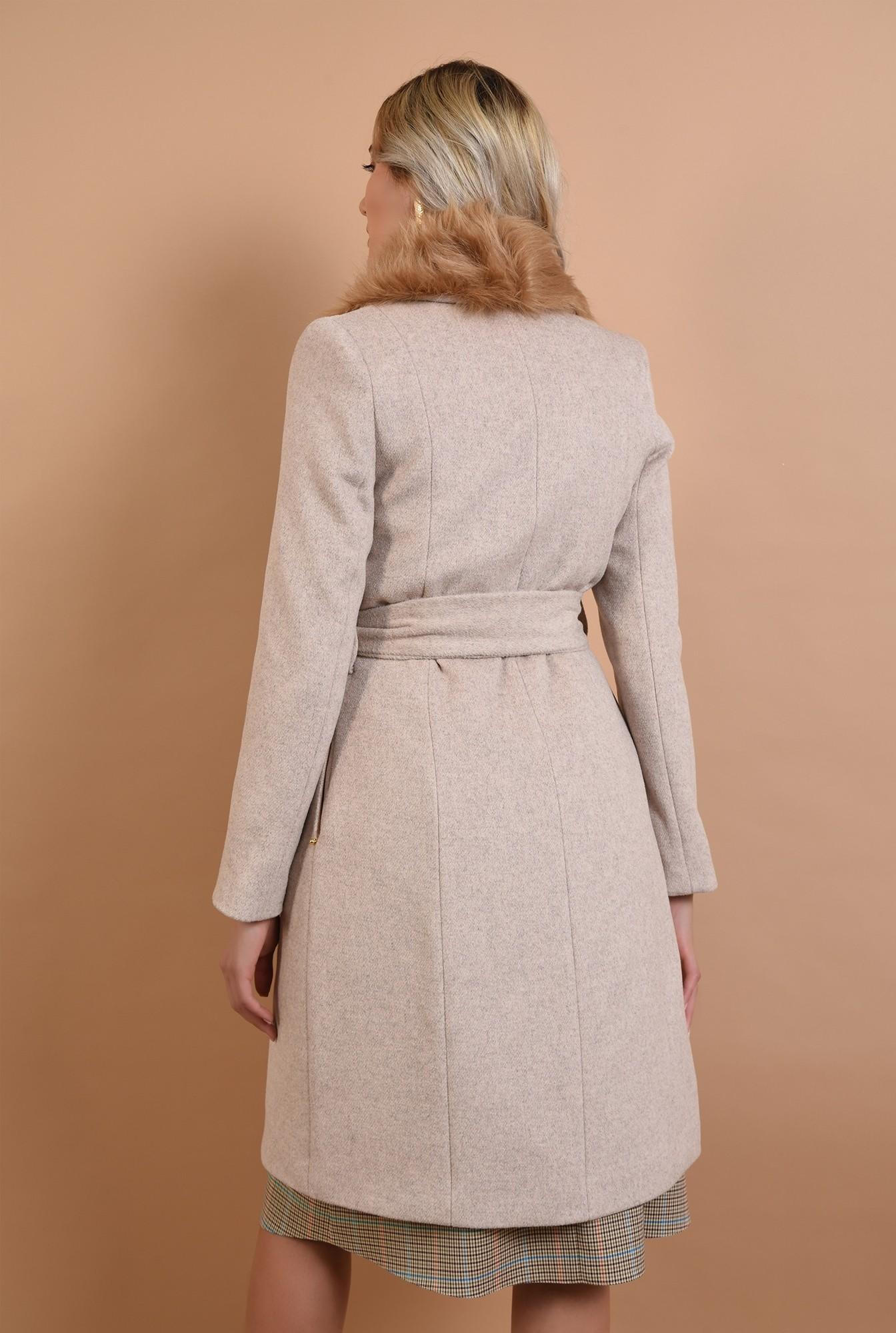1 - palton bej, cu blana, Poema, croi cambrat, midi