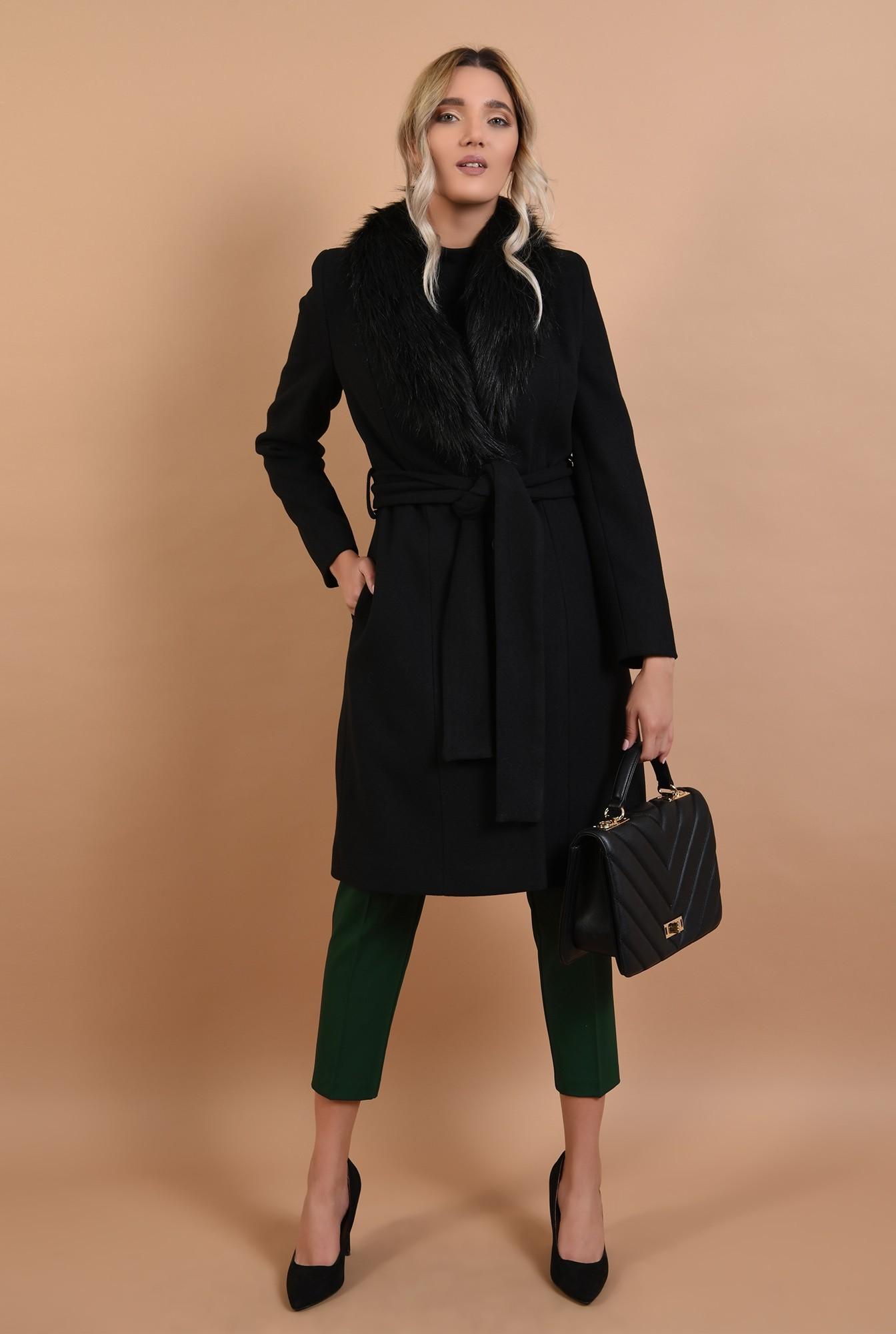 3 - palton cu blana, midi, negru, cu cordon, Poema