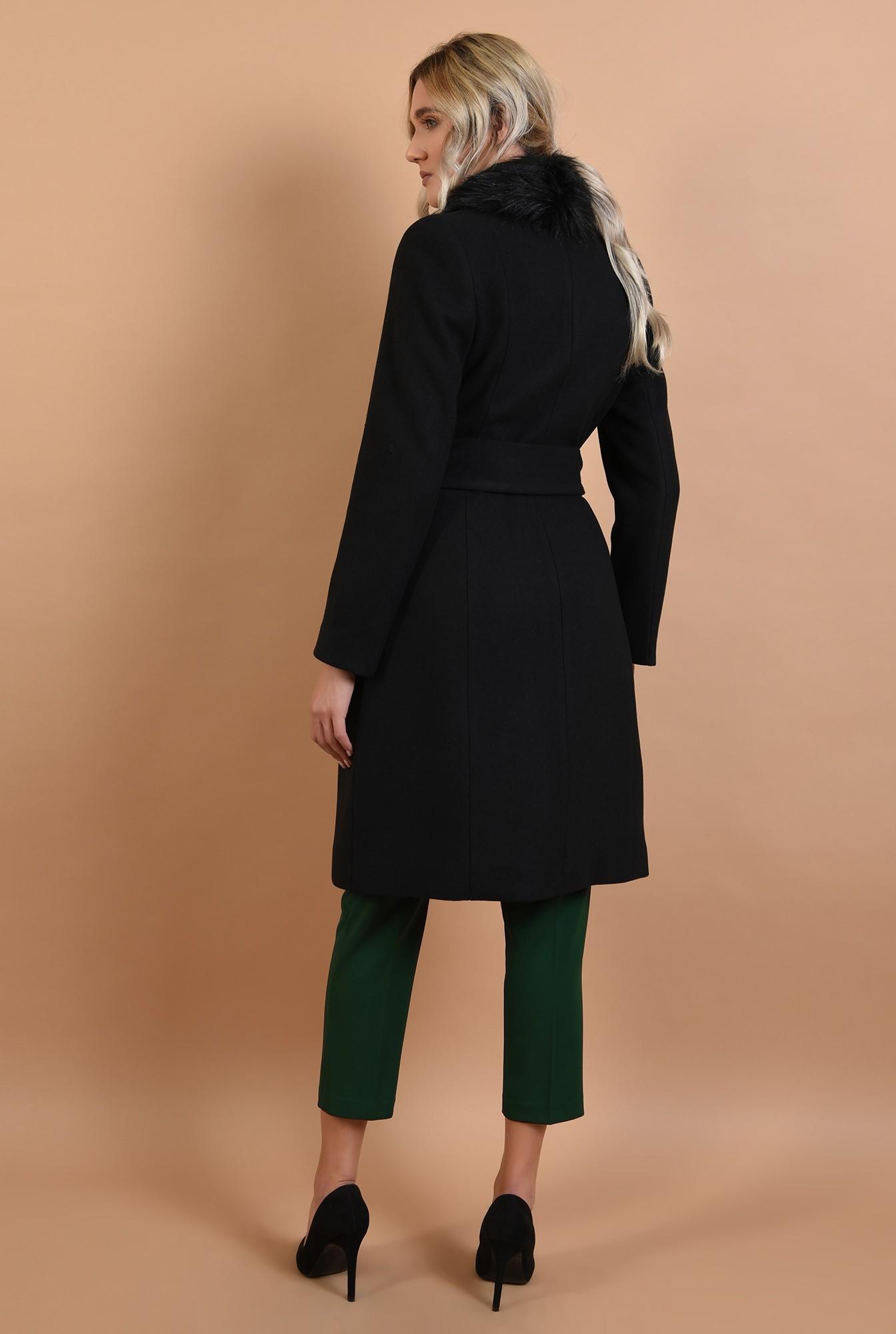 1 - palton cu blana, midi, negru, cu cordon, Poema