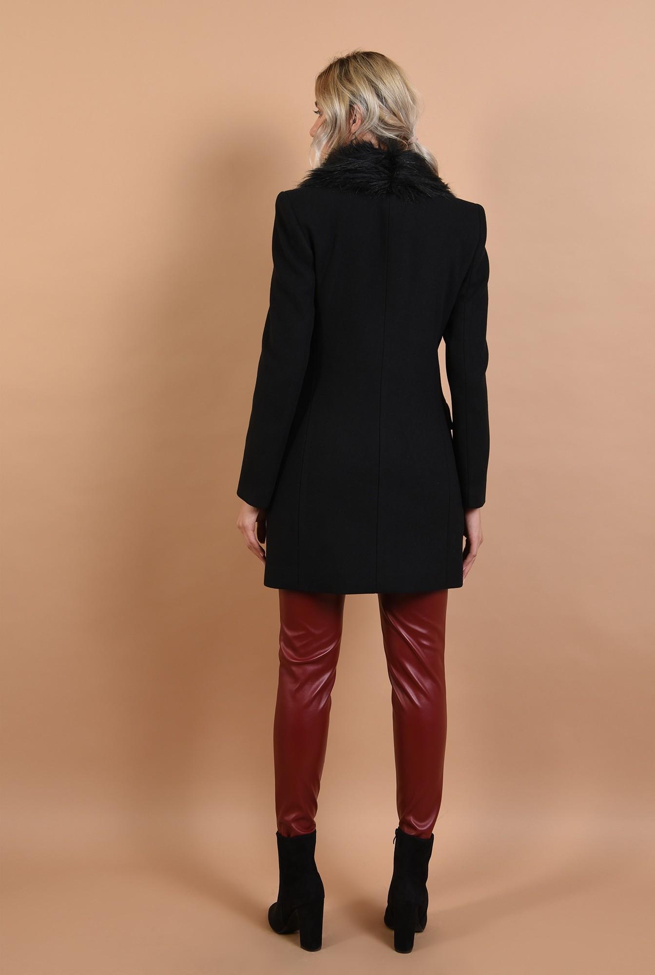 1 - palton cu blana, midi, negru, nasturi, Poema