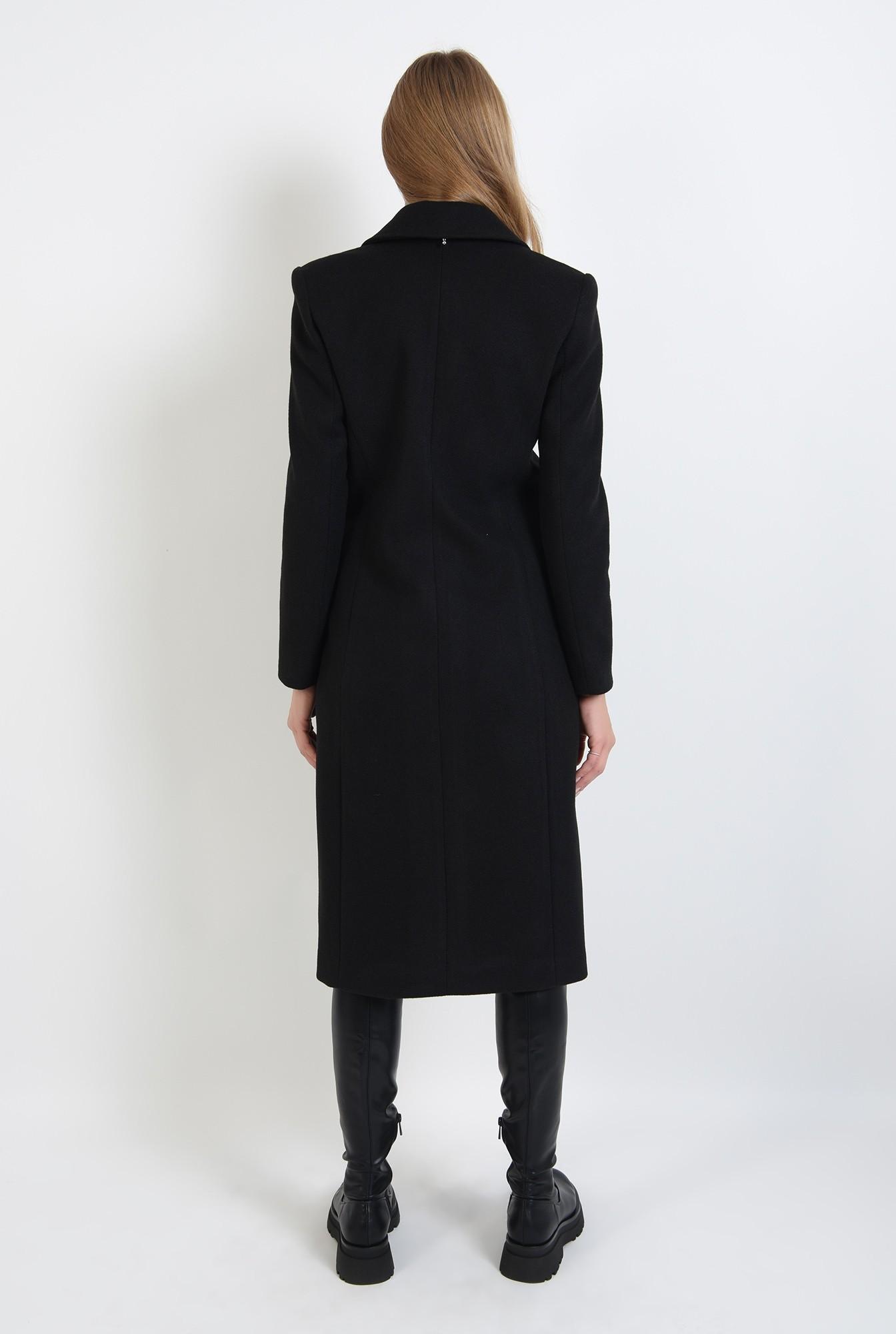 1 - palton negru, midi, cu revere